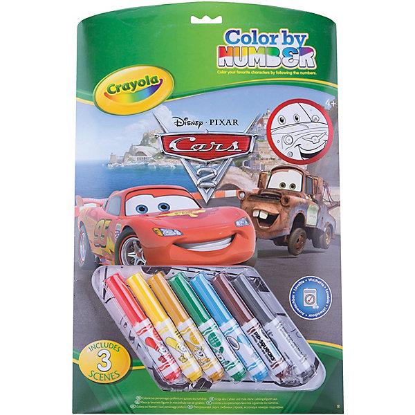 Раскраска по номерам Тачки, CrayolaТачки Творчество<br>Раскраска по номерам Тачки (Cars), Crayola.<br><br>Такие раскраски современные родители наверняка раскрашивали в своем детстве. Поле в них состоит из замкнутых пронумерованных областей, причем каждой области соответствует определенный цвет, в который её нужно раскрасить. Подбирать фломастеры  или цветные карандаши не придется – семь небольших маркеров уже есть в наборе, и их вполне хватит, чтобы не только раскрасить все рисунки этой раскраски, но ещё и нарисовать ещё много интересных вещей. <br>Как и любая раскраска, «Тачки (Cars)» формирует у ребенка представление о цвете. За счет того, что поля отмечены различными номерами, дополнительно малыш учит цифры, ставя им в соответствие названия цветов – психологи отмечают, что такой метод способствует лучшему усвоению материала. Ребенок приобретает художественные навыки; а кроме того, кропотливая работа по раскрашиванию способствует повышению усидчивости и аккуратности малыша.<br><br>Станет прекрасным подарком любому малышу!<br>Можно легко приобрести в нашем интернет магазине<br><br>Ширина мм: 373<br>Глубина мм: 238<br>Высота мм: 25<br>Вес г: 337<br>Возраст от месяцев: 60<br>Возраст до месяцев: 120<br>Пол: Мужской<br>Возраст: Детский<br>SKU: 2127062