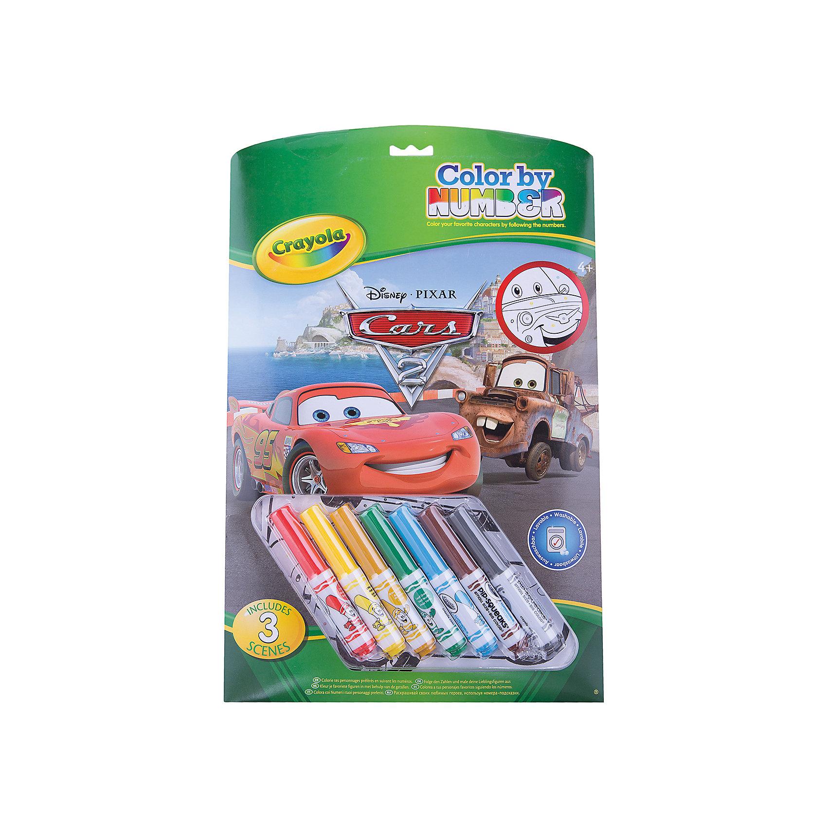 Раскраска по номерам Тачки, CrayolaРаскраска по номерам Тачки (Cars), Crayola.<br><br>Такие раскраски современные родители наверняка раскрашивали в своем детстве. Поле в них состоит из замкнутых пронумерованных областей, причем каждой области соответствует определенный цвет, в который её нужно раскрасить. Подбирать фломастеры  или цветные карандаши не придется – семь небольших маркеров уже есть в наборе, и их вполне хватит, чтобы не только раскрасить все рисунки этой раскраски, но ещё и нарисовать ещё много интересных вещей. <br>Как и любая раскраска, «Тачки (Cars)» формирует у ребенка представление о цвете. За счет того, что поля отмечены различными номерами, дополнительно малыш учит цифры, ставя им в соответствие названия цветов – психологи отмечают, что такой метод способствует лучшему усвоению материала. Ребенок приобретает художественные навыки; а кроме того, кропотливая работа по раскрашиванию способствует повышению усидчивости и аккуратности малыша.<br><br>Станет прекрасным подарком любому малышу!<br>Можно легко приобрести в нашем интернет магазине<br><br>Ширина мм: 373<br>Глубина мм: 238<br>Высота мм: 25<br>Вес г: 337<br>Возраст от месяцев: 60<br>Возраст до месяцев: 120<br>Пол: Мужской<br>Возраст: Детский<br>SKU: 2127062
