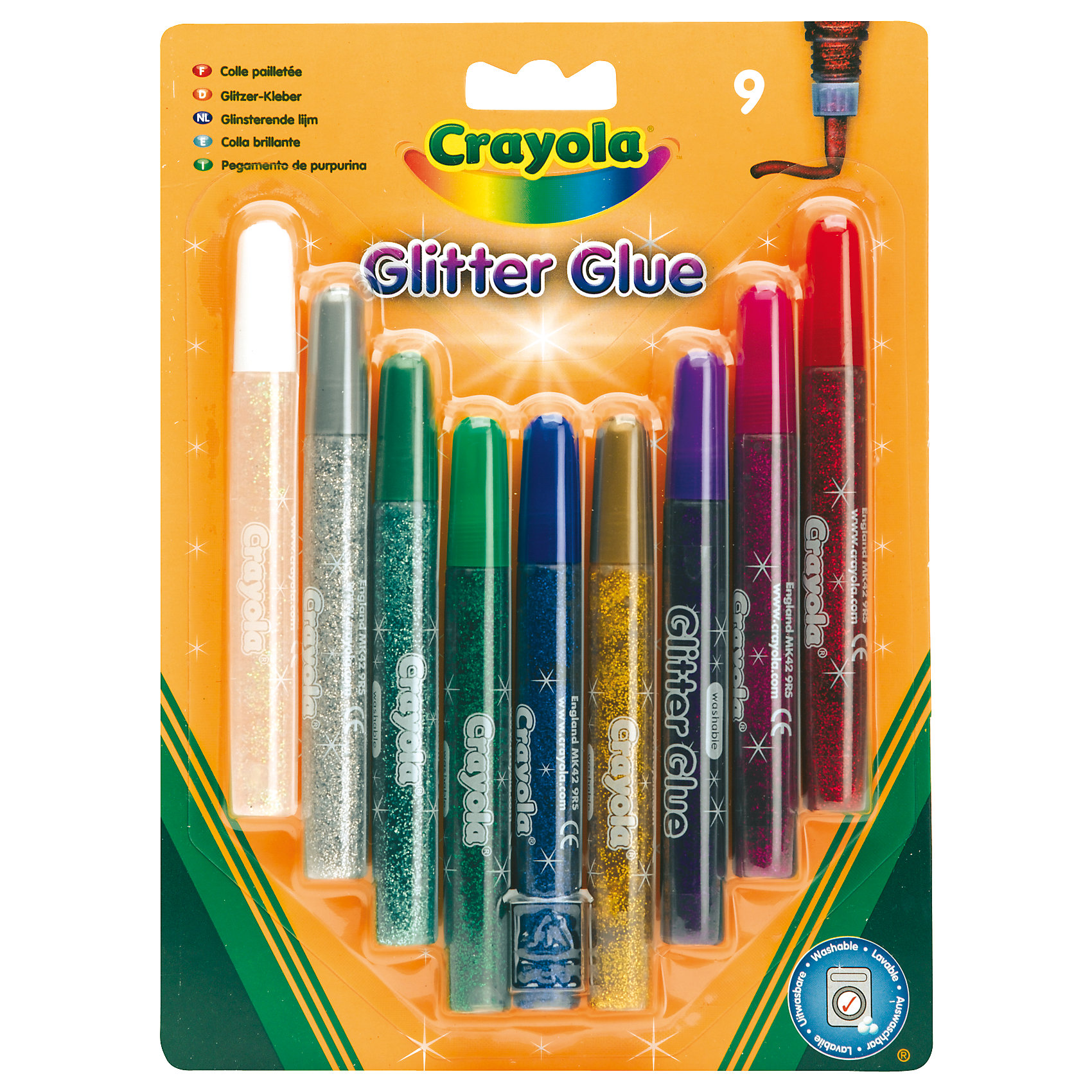 Crayola Оформительский клей, 9 цветовС помощью оформительского клея с блестками можно придать маленьким шедеврам индивидуальность. <br><br>С этим клеем очень легко работать, он высыхает примерно за 30 минут <br><br>В комплекте 9 тюбиков оформительского клея по 1,2 мл.<br><br>Клей очень легко смывается.<br><br>Ширина мм: 214<br>Глубина мм: 158<br>Высота мм: 18<br>Вес г: 161<br>Возраст от месяцев: 60<br>Возраст до месяцев: 120<br>Пол: Унисекс<br>Возраст: Детский<br>SKU: 2127074