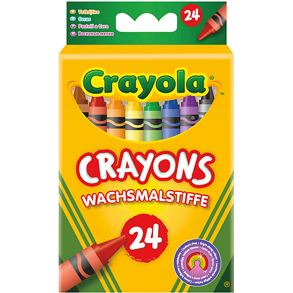 Восковые мелки, 24 шт., CrayolaМасляные и восковые мелки<br>Восковые мелки 24 разных ярких цветов подойдут даже для самых юных художников.  Приятные цвета сразу же привлекут внимание ребёнка. Насыщенные цвета позволят Вашему малышку создавать удивительные картины. Мелки не осыпаются и не оставляют грязи, а также абсолютно безопасны. <br><br>Позвольте Вашему малышу рисовать свои первые творения с мелками от Крайола.<br><br>Восковые мелки от Крайола можно купить в нашем интернет-магазине.<br><br>Дополнительная информация:<br>Длина мелка - 9 см<br>Диаметр - 0,8 см<br>Размер упаковки: 12 * 7 * 3 см<br>Ширина мм: 116; Глубина мм: 71; Высота мм: 27; Вес г: 132; Возраст от месяцев: 36; Возраст до месяцев: 120; Пол: Унисекс; Возраст: Детский; SKU: 2127080;