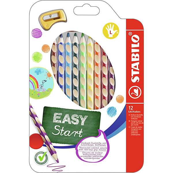 Набор цветных карандашей для левшей, 12 цв., EASYCOLORSПисьменные принадлежности<br>Набор цветных карандашей для левшей, 12 цв., EASYCOLORS от марки Stabilo<br><br>Эти карандаши созданы немецкой компанией для комфортного и легкого рисования. Цвета яркие, линия мягкая и однородная. Будут долго держаться на бумаге и не выцветать. Рисование помогает детям развивать усидчивость, воображение, образное восприятие мира, а также мелкую моторику рук.  <br>Этот набор разработан специально для детей, осваивающих рисование и процесс письма. Он создан с учетом особенностей строения и развития руки ребенка. На деревянном карандаше сделаны специальные углубления, которые подсказывают детям правильное расположение пальцев на пишущем инструменте. <br>Даже после заточки карандашей они продолжают полноценно исполнять эту функцию. Форма этих предметов позволяет карандашам удобно ложиться в детской руке и не вызывать усталости мышц. Предназначены для левшей.<br><br>Особенности данной модели:<br><br>комплектация: 12 шт.<br><br>Набор цветных карандашей для левшей, 12 цв., EASYCOLORS можно купить в нашем магазине.<br>Ширина мм: 240; Глубина мм: 159; Высота мм: 15; Вес г: 150; Возраст от месяцев: 60; Возраст до месяцев: 120; Пол: Унисекс; Возраст: Детский; SKU: 2128525;
