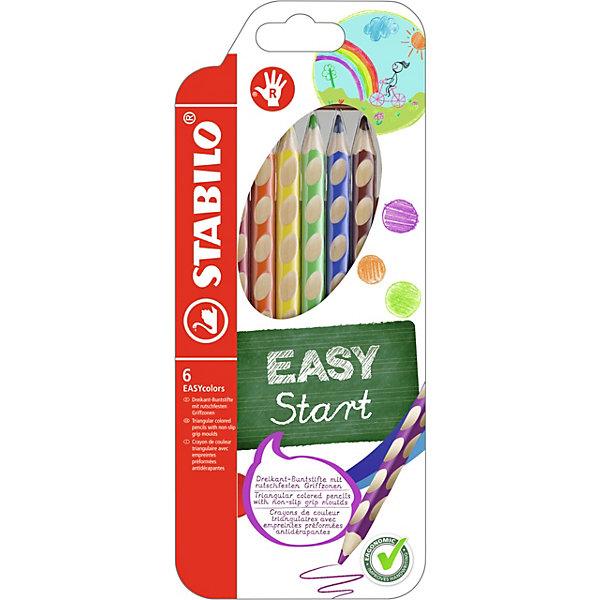 Набор цветных карандашей для правшей, 6 цв., EASYCOLORSПисьменные принадлежности<br>Набор цветных карандашей для правшей, 6 цв., EASYCOLORS от марки Stabilo<br><br>Эти карандаши созданы немецкой компанией для комфортного и легкого рисования. Цвета яркие, линия мягкая и однородная. Будут долго держаться на бумаге и не выцветать. Рисование помогает детям развивать усидчивость, воображение, образное восприятие мира, а также мелкую моторику рук.  <br>Этот набор разработан специально для детей, осваивающих рисование и процесс письма. Он создан с учетом особенностей строения и развития руки ребенка. На деревянном карандаше сделаны специальные углубления, которые подсказывают детям правильное расположение пальцев на пишущем инструменте. <br>Даже после заточки карандашей они продолжают полноценно исполнять эту функцию. Форма этих предметов позволяет карандашам удобно ложиться в детской руке и не вызывать усталости мышц. Предназначены для правшей.<br><br>Особенности данной модели:<br><br>комплектация: 6 шт.<br><br>Набор цветных карандашей для правшей, 6 цв., EASYCOLORS можно купить в нашем магазине.<br><br>Ширина мм: 239<br>Глубина мм: 103<br>Высота мм: 17<br>Вес г: 84<br>Возраст от месяцев: 60<br>Возраст до месяцев: 120<br>Пол: Унисекс<br>Возраст: Детский<br>SKU: 2128526