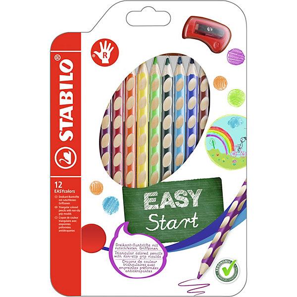 Набор цветных карандашей для правшей, 12 цв., EASYCOLORSПисьменные принадлежности<br>Набор цветных карандашей для правшей, 12 цв., EASYCOLORS от марки Stabilo<br><br>Эти карандаши созданы немецкой компанией для комфортного и легкого рисования. Цвета яркие, линия мягкая и однородная. Будут долго держаться на бумаге и не выцветать. Рисование помогает детям развивать усидчивость, воображение, образное восприятие мира, а также мелкую моторику рук.  <br>Этот набор разработан специально для детей, осваивающих рисование и процесс письма. Он создан с учетом особенностей строения и развития руки ребенка. На деревянном карандаше сделаны специальные углубления, которые подсказывают детям правильное расположение пальцев на пишущем инструменте. <br>Даже после заточки карандашей они продолжают полноценно исполнять эту функцию. Форма этих предметов позволяет карандашам удобно ложиться в детской руке и не вызывать усталости мышц. Предназначены для правшей.<br><br>Особенности данной модели:<br><br>комплектация: 12 шт.<br>Набор цветных карандашей для правшей, 12 цв., EASYCOLORS можно купить в нашем магазине.<br><br>Ширина мм: 242<br>Глубина мм: 159<br>Высота мм: 17<br>Вес г: 147<br>Возраст от месяцев: 60<br>Возраст до месяцев: 120<br>Пол: Унисекс<br>Возраст: Детский<br>SKU: 2128527