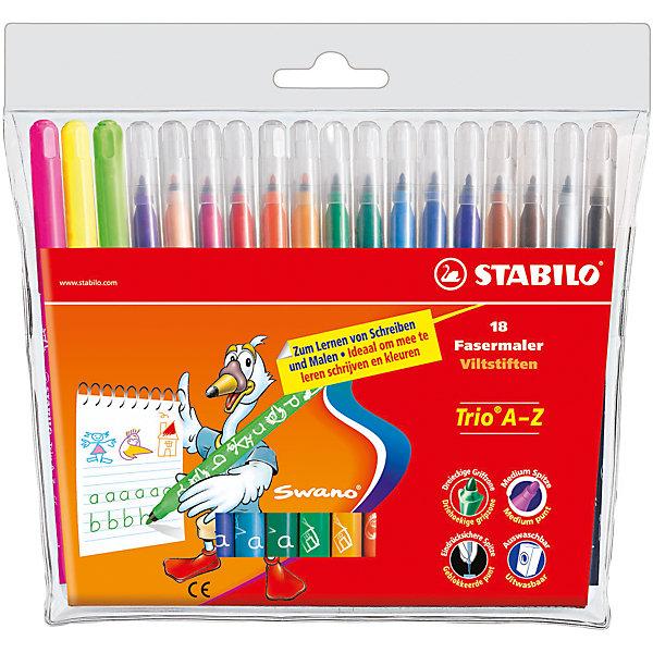 STABILO Trio Набор фломастеров, 18 цвФломастеры<br>Набор фломастеров TRIO 18 цв. от марки Stabilo<br><br>Фломастеры сделаны из приятного на ощупь материала, с яркими чернилами высокого качества. Поверхность корпуса препятствует скольжению пальцев и обеспечивает комфорт при рисовании. <br>Рисование помогает детям развивать усидчивость, воображение, образное восприятие мира, а также мелкую моторику рук.  <br>Эти фломастеры сделаны с применением качественных чернил на водной основе. Могут долгое время находиться без колпачка и не высыхать. В наборе - 12 разных ярких цветов. Упаковка удобная. Корпус сделан из пластика.<br><br>Особенности данной модели:<br><br>комплектация: 18 шт.<br><br>Набор фломастеров TRIO 18 цв. от марки Stabilo можно купить в нашем магазине.<br><br>Ширина мм: 200<br>Глубина мм: 164<br>Высота мм: 12<br>Вес г: 146<br>Возраст от месяцев: 72<br>Возраст до месяцев: 192<br>Пол: Унисекс<br>Возраст: Детский<br>SKU: 2128561