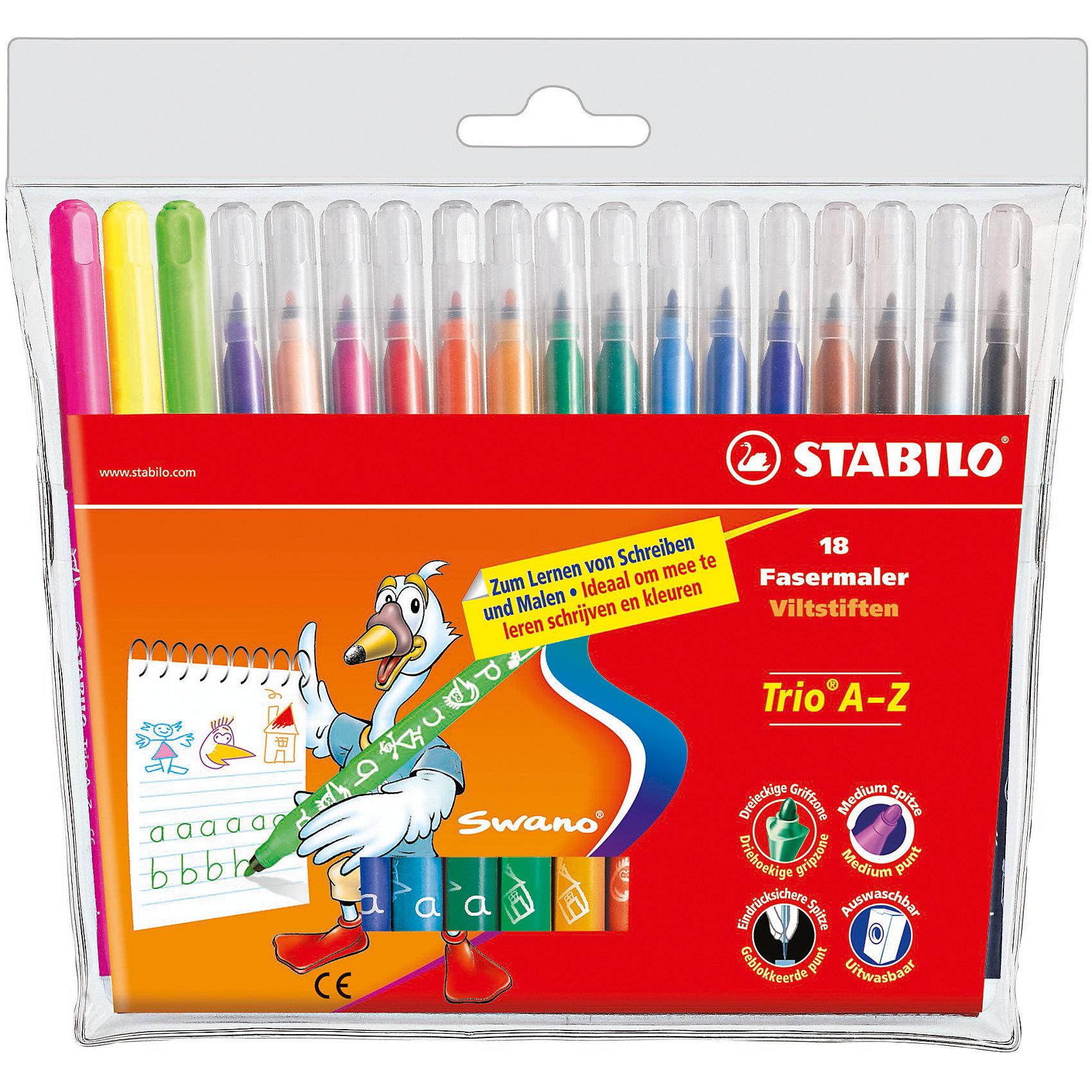 STABILO Trio Набор фломастеров, 18 цвПисьменные принадлежности<br>Набор фломастеров TRIO 18 цв. от марки Stabilo<br><br>Фломастеры сделаны из приятного на ощупь материала, с яркими чернилами высокого качества. Поверхность корпуса препятствует скольжению пальцев и обеспечивает комфорт при рисовании. <br>Рисование помогает детям развивать усидчивость, воображение, образное восприятие мира, а также мелкую моторику рук.  <br>Эти фломастеры сделаны с применением качественных чернил на водной основе. Могут долгое время находиться без колпачка и не высыхать. В наборе - 12 разных ярких цветов. Упаковка удобная. Корпус сделан из пластика.<br><br>Особенности данной модели:<br><br>комплектация: 18 шт.<br><br>Набор фломастеров TRIO 18 цв. от марки Stabilo можно купить в нашем магазине.<br><br>Ширина мм: 200<br>Глубина мм: 164<br>Высота мм: 12<br>Вес г: 146<br>Возраст от месяцев: 72<br>Возраст до месяцев: 192<br>Пол: Унисекс<br>Возраст: Детский<br>SKU: 2128561