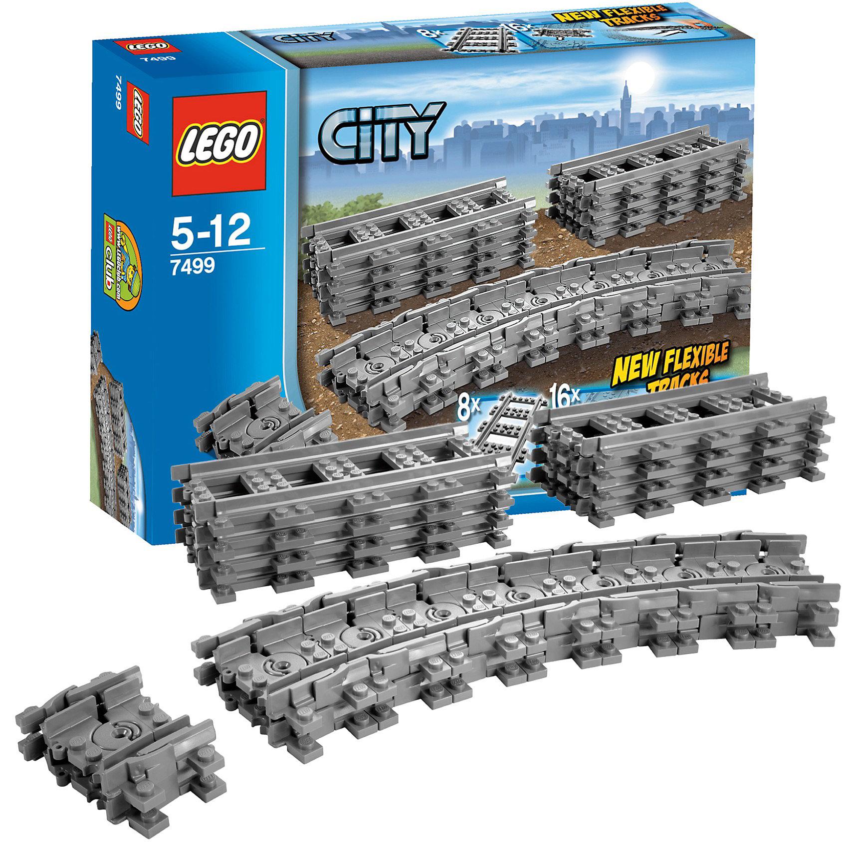 LEGO City 7499: Гибкие рельсыПластмассовые конструкторы<br>С гибкими рельсами от LEGO City (LEGO № 7499) препятствия можно просто объехать. <br><br>С помощью рельсов можно расширить железнодорожную систему так, чтобы препятствия и неудобные углы можно было просто объехать. Теперь каждый поезд доедет до пункта назначения! <br><br>Дополнительные информация: <br><br>- в набор входят 8 прямых рельсов и 16 гибких рельсов <br>- Артикул LEGO № 7499 <br>- Количество деталей LEGO: 24 <br>- Подходят к наборам LEGO 7938 и 7939. <br>- Рельсы не проводят электричество и потому не совместимы с поездами LEGO 9V.<br>- Размер упаковки (д/ш/в): 6,1 х 26,2 х 19,1 см. <br>- Серия: ЛЕГО Сити<br>Отличное дополнение для Вашей железной дороги!<br><br>Конструктор LEGO City 7499: Гибкие рельсы можно купить в нашем магазине.<br><br>Ширина мм: 264<br>Глубина мм: 190<br>Высота мм: 66<br>Вес г: 310<br>Возраст от месяцев: 60<br>Возраст до месяцев: 144<br>Пол: Мужской<br>Возраст: Детский<br>SKU: 2128652