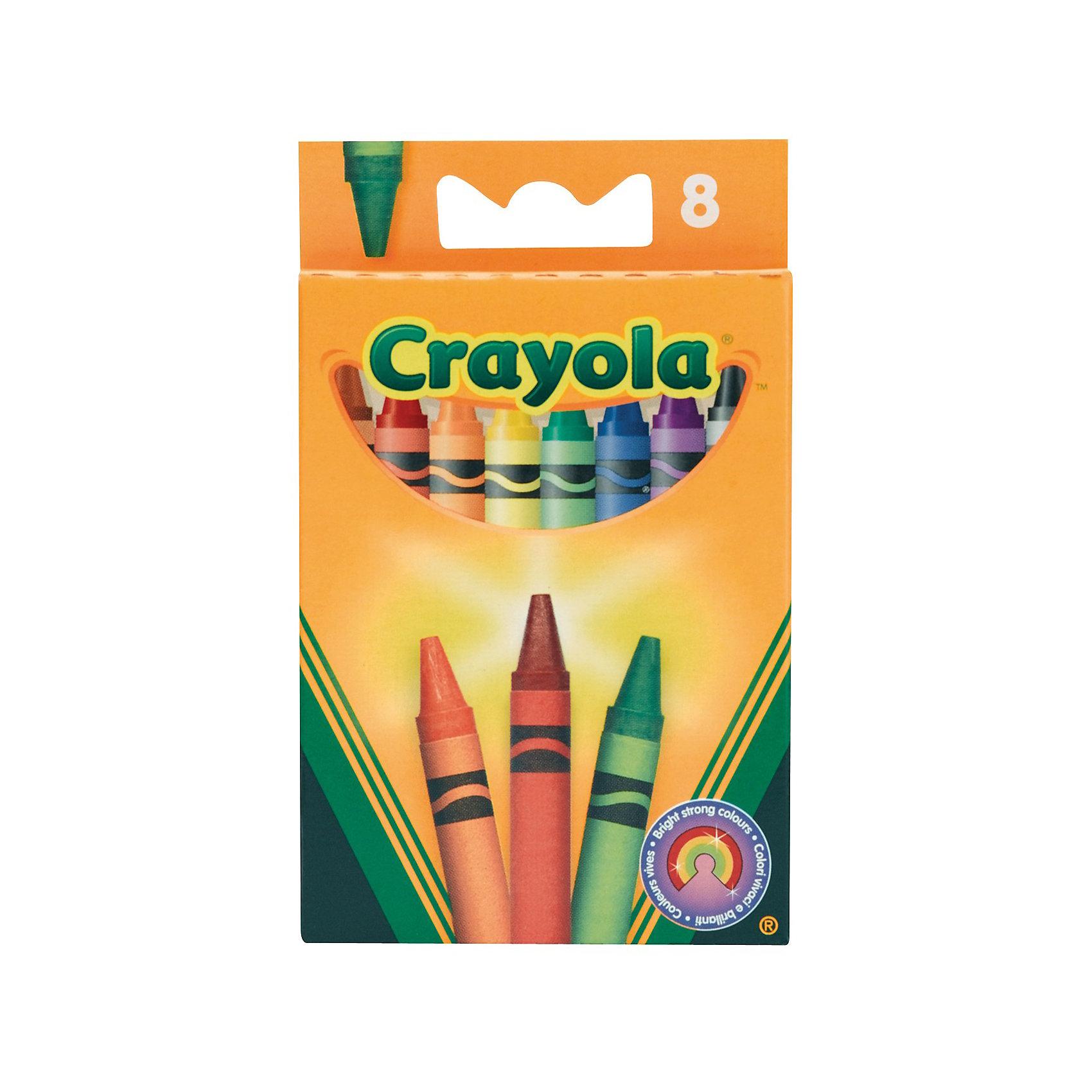 Восковые мелки, 8 шт., CrayolaВосковые мелки 8 ярких цветов созданы специально для того, чтобы Ваш малыш мог почувствовать себя маленьким художником. лагодаря своему размеру мелки прекрасно подходят для самых маленьких ручек, их удобно и безопасно держать.<br><br>Яркие цвета сразу же привлекут внимание ребёнка. Мелки дважды обернуты в бумагу для придания прочности и во избежание окрашивания пальцев, хорошо скользят по бумаге, а цвет хорошо ложится. Мелки не осыпаются и не оставляют грязи.<br><br>Позвольте Вашему малышу нарисовать свои первые картинки с мелками от Crayola (Крайола).<br><br>Восковые мелки от Крайола можно купить в нашем интернет-магазине.<br><br>Ширина мм: 117<br>Глубина мм: 10<br>Высота мм: 72<br>Вес г: 68<br>Возраст от месяцев: 36<br>Возраст до месяцев: 120<br>Пол: Унисекс<br>Возраст: Детский<br>SKU: 2129333