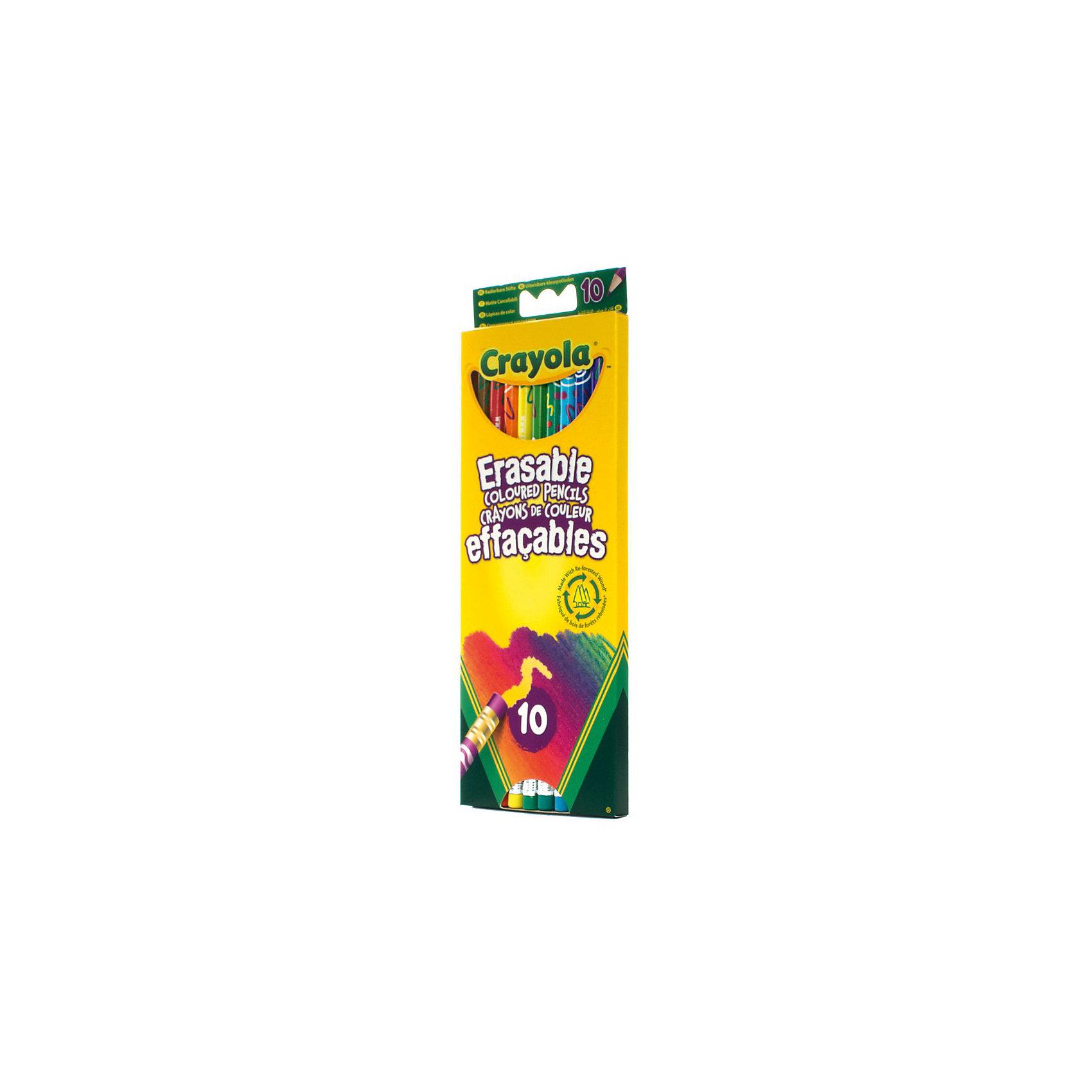 Цветные карандаши (10 шт) с корректорами, CrayolaЦветные карандаши<br>Все 10 цветных карандашей их этого набора от Crayola (Крайола) оснащены ластиками. На конце каждого карандаша – стирательная резинка соответствующего цвета. <br>Часто при раскрашивании цветными карандашами малыши сталкиваются с тем, что практически невозможно удалить часть рисунка или подкорректировать его. В лучшем случае – остаются разводы, в худшем – портится бумага, появляются дырки. Но только не с этими карандашами! Благодаря специальной технологии ластики с карандашей идеально стирают все нарисованное соответствующим цветом, не оставляя грязи и разводов.<br><br>Дополнительная информация:<br><br>В наборе вы найдете карандаши 10 цветов. Корпус каждого из них покрыт разнообразными узорами. <br>Размер карандаша: 19 х 0,7 см (диаметр).<br>Все стержни карандашей – с диаметром 0,33 см. <br>Размеры упаковки: 8х0,9х22,7 см. <br>Вес набора: 80 грамм.<br><br>Набор цветных карандашей с корректорами, Crayola (Крайола) можно купить в нашем магазине.<br><br>Ширина мм: 211<br>Глубина мм: 81<br>Высота мм: 10<br>Вес г: 65<br>Возраст от месяцев: 36<br>Возраст до месяцев: 96<br>Пол: Унисекс<br>Возраст: Детский<br>SKU: 2129334