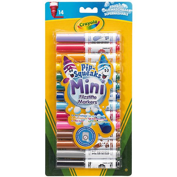 Набор из 14 смываемых мини-маркеров, CrayolaПисьменные принадлежности<br>Набор из 14 смываемых мини-маркеров от Crayola (Крайола) - это очень удобный и практичный набор. Маркеры в формате мини замечательно помещаются в детский рюкзак или мамину изящную сумку, что позволяет брать маркеры с собой куда угодно. <br><br>Если Ваш ребёнок испачкал одежду во время рисования, то не спешите ругать его! Краска маркера отлично смывается. Чистые цвета, выбранные производителем, как нельзя лучше подходят для создания красочных рисунков.<br><br>Набор из 14 смываемых мини-маркеров от Crayola (Крайола) можно купить в нашем интернет-магазине.<br>Ширина мм: 290; Глубина мм: 152; Высота мм: 22; Вес г: 171; Возраст от месяцев: 36; Возраст до месяцев: 120; Пол: Унисекс; Возраст: Детский; SKU: 2129335;