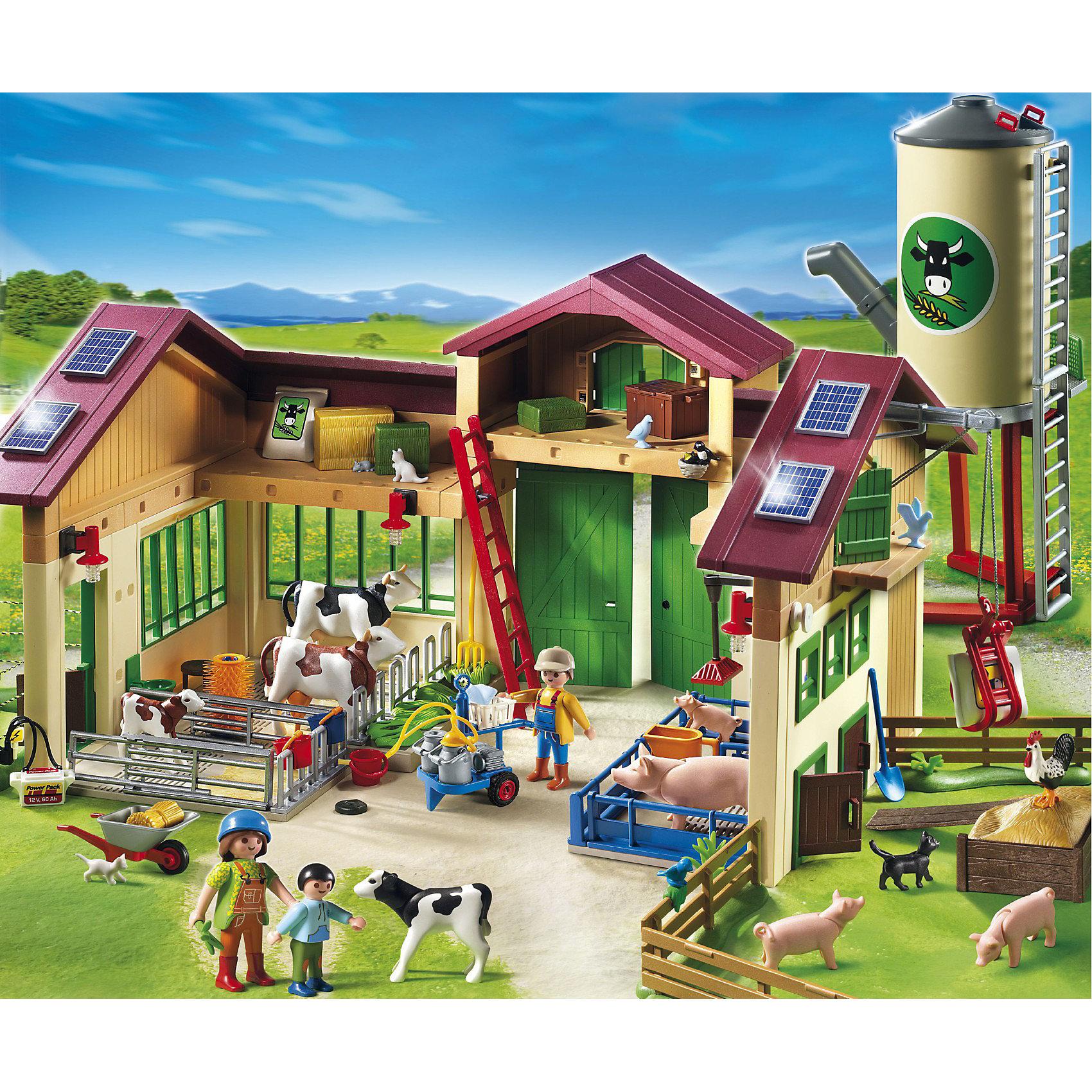 PLAYMOBIL 5119 Ферма: Новая ферма с силосной башнейКонструктор PLAYMOBIL (Плеймобил) 5119 Ферма: Новая ферма с силосной башней - находка для заботливых родителей! Конструктор Вашего ребенка должен быть именно таким: красочным, безопасным и очень интересным. Серия Ферма специально создана для малышей которые обожают животных и мечтают наблюдать как они растут. Ферма - идеальное место для животных! На новой ферме с силосной башней есть место для всех животных: загон для свиней, коровник и даже свинарник. За животными присматривает целая семья. Они кормят животных, чистят загоны и разгружают корма. Работа не замирает ни на минуту. Высокую силосную башню нужно заполнить кормами. Построй ферму и убедись, что все животные хорошо устроились. Создай увлекательные сюжеты с набором Новая ферма с силосной башней или объедини его с другими наборами серии и игра станет еще интереснее. Придумывая замечательные сюжеты с деталями конструктора, Ваш ребенок развивает фантазию, учится заботе и просто прекрасно проводит время!<br><br>Дополнительная информация:<br><br>- Конструкторы PLAYMOBIL (Плеймобил) отлично развивают мелкую моторику, фантазию и воображение;<br>- В наборе: 3 минифигурки (ветеринара и ребенка), детали для строительства фермы и силосной башни, доильный аппарат, лебедка, тележка, корма, лестница 19 животных, инструменты, аксессуары;<br>- Материал: безопасный пластик;<br>- Размер минифигурок взрослых: 7,5 см;<br>- Размер минифигурки ребенка: 5,2 см;<br>- Размер упаковки: 60 х 50 х 16 см<br><br>Конструктор PLAYMOBIL (Плеймобил) 5119 Ферма: Новая ферма с силосной башней можно купить в нашем интернет-магазине.<br><br>Ширина мм: 597<br>Глубина мм: 499<br>Высота мм: 150<br>Вес г: 3543<br>Возраст от месяцев: 48<br>Возраст до месяцев: 120<br>Пол: Унисекс<br>Возраст: Детский<br>SKU: 2129496