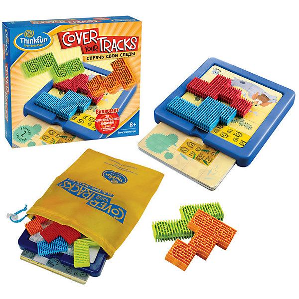 Игра Спрячь свои следы, ThinkfunГоловоломки - игры<br>Головоломка-паззл Спрячь свои следы обладает достаточно интересным и необычным сюжетом.<br> <br>Цель игры: Спрячьте следы, изображённые на карточке с помощью четырёх разноцветных частей пазла.  Чтобы решить головоломку, все четыре части должны уместиться в пределах игрового поля.  <br><br> Порядок игры:<br>- Выберите одну карточку-головоломку из колоды и положите её на игровое поле. <br>- Разместите части паззла так, чтобы они полностью закрыли выделенную зону со следами. Все четыре части паззла нужно уместить внутри игрового поля так, чтобы они лежали горизонтально, не выступая за края игрового поля. <br>- Как только выделенная зона со следами будет полностью закрыта всеми частями паззла - цель достигнута!<br><br>В комплект входят игровое поле, 20 карточек с различными видами местности и следами на них, 4 фигуры сложной формы,  удобный мешочек для транспортировки и хранения игры.<br><br>Размер упаковки: 65 x 203 x 222 мм<br><br>Ширина мм: 635<br>Глубина мм: 203<br>Высота мм: 222<br>Вес г: 502<br>Возраст от месяцев: 72<br>Возраст до месяцев: 1188<br>Пол: Унисекс<br>Возраст: Детский<br>SKU: 2148447