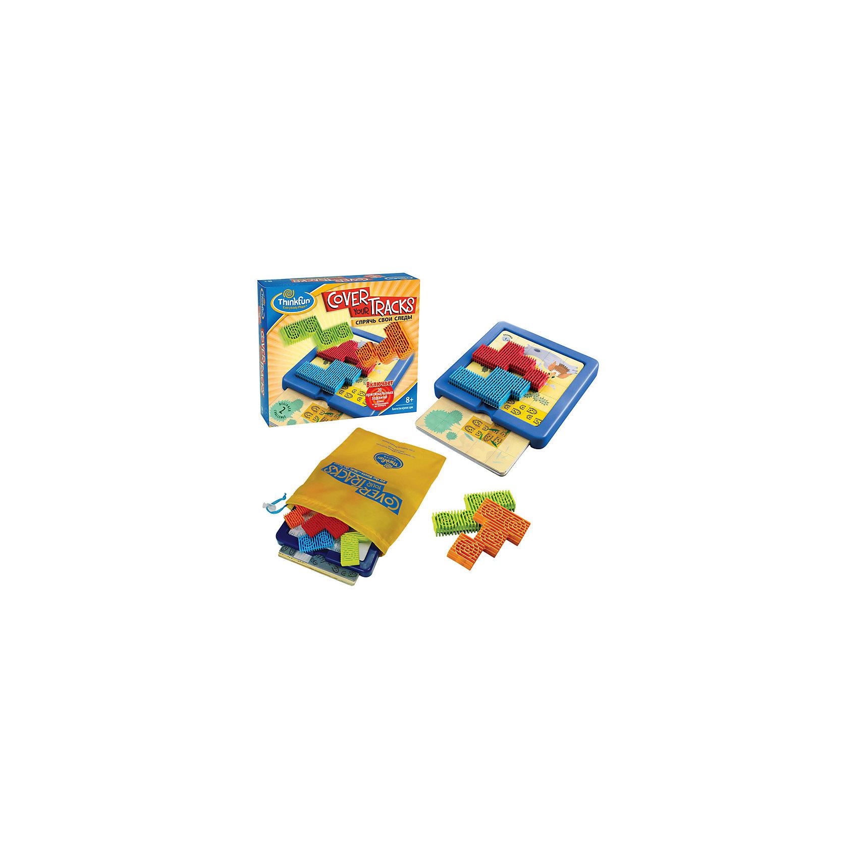 Игра Спрячь свои следы, ThinkfunГоловоломка-паззл Спрячь свои следы обладает достаточно интересным и необычным сюжетом.<br> <br>Цель игры: Спрячьте следы, изображённые на карточке с помощью четырёх разноцветных частей пазла.  Чтобы решить головоломку, все четыре части должны уместиться в пределах игрового поля.  <br><br> Порядок игры:<br>- Выберите одну карточку-головоломку из колоды и положите её на игровое поле. <br>- Разместите части паззла так, чтобы они полностью закрыли выделенную зону со следами. Все четыре части паззла нужно уместить внутри игрового поля так, чтобы они лежали горизонтально, не выступая за края игрового поля. <br>- Как только выделенная зона со следами будет полностью закрыта всеми частями паззла - цель достигнута!<br><br>В комплект входят игровое поле, 20 карточек с различными видами местности и следами на них, 4 фигуры сложной формы,  удобный мешочек для транспортировки и хранения игры.<br><br>Размер упаковки: 65 x 203 x 222 мм<br><br>Ширина мм: 635<br>Глубина мм: 203<br>Высота мм: 222<br>Вес г: 502<br>Возраст от месяцев: 72<br>Возраст до месяцев: 1188<br>Пол: Унисекс<br>Возраст: Детский<br>SKU: 2148447