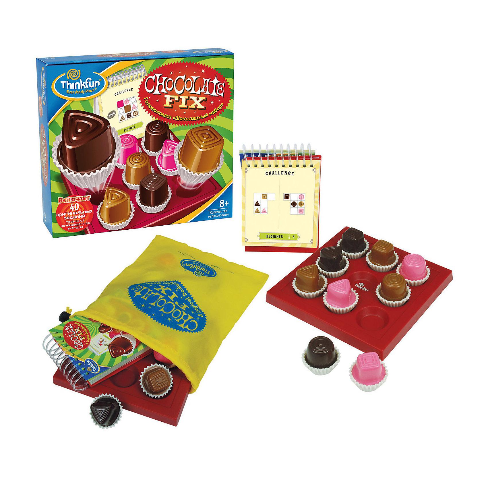 Игра-головоломка Шоколадный набор, ThinkfunГоловоломки<br>Игра-головоломка Шоколадный набор от Thinkfun в основном тренирует навыки дедукции и пространственного мышления. <br><br>Чтобы найти решение для каждого из заданий, вам придётся, опираясь на имеющиеся подсказки, отбрасывать неверные варианты расположения конфет в коробке один за другим. <br>Шоколадный набор - умное развлечение для детей и взрослых. Ваша цель: Используя подсказки в блокноте, попробуйте расположить все 9 шоколадных конфет в коробке в правильном порядке. Чтобы проверить себя, переверните страницу. <br><br>Начать играть просто: <br>1.  Внимательно посмотрите на подсказки, показанные на карточке. <br>2.  Разместите «конфеты» так, как показано на одной подсказке. <br><br>Дополнительная информация:<br><br>- Игра включает 40 оригинальных заданий. <br>- Уровни: от начинающего до эксперта (4 уровня).<br>- Количество игроков: один. <br><br>Игру-головоломку Шоколадный набор, Thinkfun можно купить в нашем интернет- магазине.<br><br>Ширина мм: 65<br>Глубина мм: 203<br>Высота мм: 222<br>Вес г: 452<br>Возраст от месяцев: 96<br>Возраст до месяцев: 1188<br>Пол: Унисекс<br>Возраст: Детский<br>SKU: 2148451