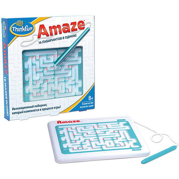 Игра Лабиринт Amaze, ThinkfunСтратегические настольные игры<br>Лабиринт Amaze представляет собой не один лабиринт, а их конструктор, позволяющий получить 16 разных вариантов прохождения. Сначала нужно просто суметь найти выход из лабиринтов, а после знакомства со всеми вариациями — научиться делать это максимально быстро.<br><br>Цель игры: пройти лабиринт от начала и до конца, не отрывая стилус от желтой дорожки.<br>Данная игра помогает развить ребенку визуальную память, моторику и внимание.<br><br>Дополнительная информация:<br><br>Порядок игры:<br>- передвинуть красные индикаторы вправо или влево, чтобы они соответствовали рисунку на оборотной стороне игры. Все шестнадцать заданий являются положениями индикаторов.<br>- при прохождениии лабиринта Вам обязательно встретятся красные перегородки, которые можно сдвигать влево и/или вправо, создавая новые проходы. Но будьте осторожны - Вы можете загнать себя в ловушку!<br>Ширина мм: 203; Глубина мм: 254; Высота мм: 203; Вес г: 212; Возраст от месяцев: 72; Возраст до месяцев: 1188; Пол: Унисекс; Возраст: Детский; SKU: 2148454;