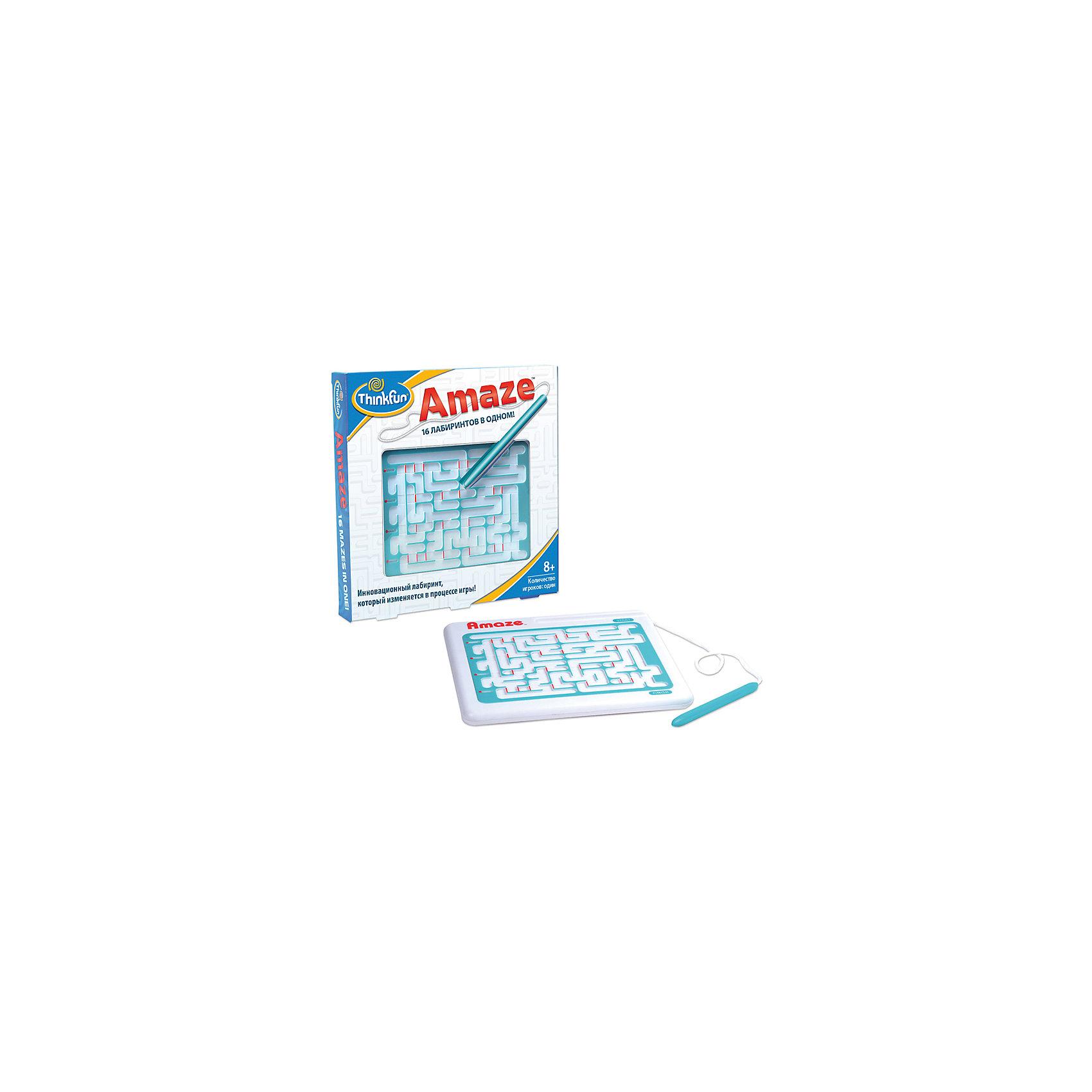Игра Лабиринт Amaze, ThinkfunЛабиринт Amaze представляет собой не один лабиринт, а их конструктор, позволяющий получить 16 разных вариантов прохождения. Сначала нужно просто суметь найти выход из лабиринтов, а после знакомства со всеми вариациями — научиться делать это максимально быстро.<br><br>Цель игры: пройти лабиринт от начала и до конца, не отрывая стилус от желтой дорожки.<br>Данная игра помогает развить ребенку визуальную память, моторику и внимание.<br><br>Дополнительная информация:<br><br>Порядок игры:<br>- передвинуть красные индикаторы вправо или влево, чтобы они соответствовали рисунку на оборотной стороне игры. Все шестнадцать заданий являются положениями индикаторов.<br>- при прохождениии лабиринта Вам обязательно встретятся красные перегородки, которые можно сдвигать влево и/или вправо, создавая новые проходы. Но будьте осторожны - Вы можете загнать себя в ловушку!<br><br>Ширина мм: 203<br>Глубина мм: 254<br>Высота мм: 203<br>Вес г: 212<br>Возраст от месяцев: 72<br>Возраст до месяцев: 1188<br>Пол: Унисекс<br>Возраст: Детский<br>SKU: 2148454