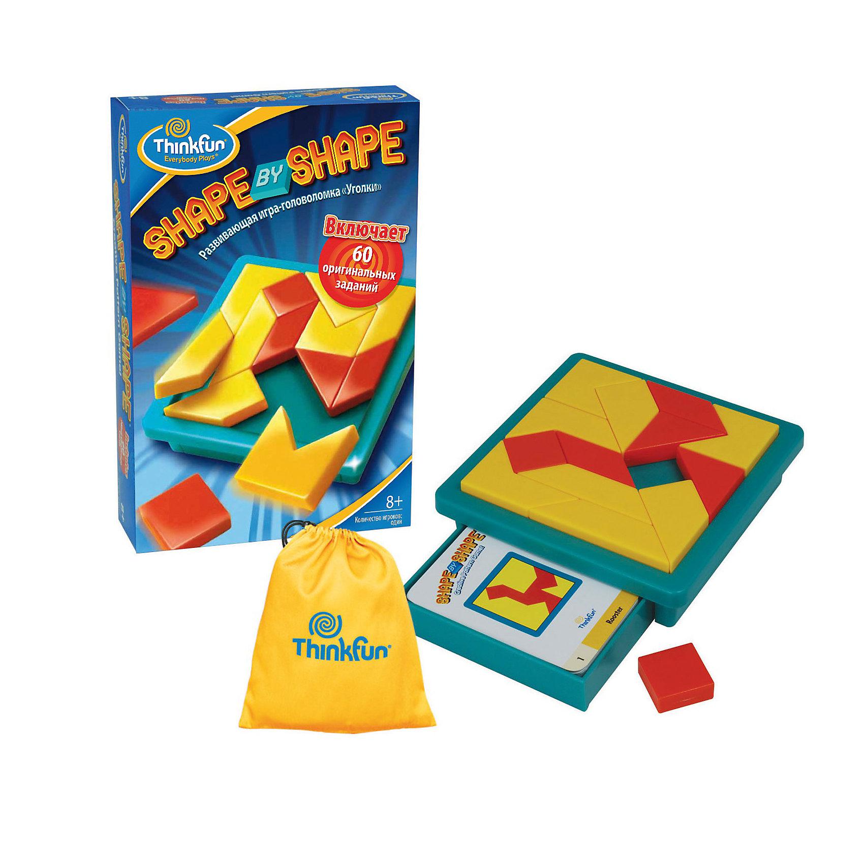 Игра Уголки  Shape by shape, ThinkfunГоловоломки<br>Уголки Shape by shape - детская игра, в которой нужно собирать фигуры на поле из сложных фигур. <br><br>Цель игры - нужно посмотреть на карточку и собрать такую же композицию на игровом поле. Задачи примерно похожи по сложности, но с ростом опыта игра становится всё интереснее и интереснее.<br><br>Порядок игры:<br>- Выберите из колоды карточек с заданиями одну карточку.<br>- Разместите части головоломки так чтобы они соответствовали рисунку на карточке. <br>- Все кусочки головоломки должны находится внутри игрового поля и лежать горизонтально.<br>Решение для каждого задания показаны на обороте карточки.<br><br>Дополнительная информация:<br><br>В набор входят: 14 пластиковых фигурок, игровое поле, 60 карточек с заданиями, на обратной стороне которых есть подсказки на тот случай, если собрать не получается, и нейлоновый мешочек.<br><br>Данная игра хорошо развивает моторику и системное мышление.<br><br>Ширина мм: 200<br>Глубина мм: 220<br>Высота мм: 60<br>Вес г: 658<br>Возраст от месяцев: 96<br>Возраст до месяцев: 144<br>Пол: Унисекс<br>Возраст: Детский<br>SKU: 2148456
