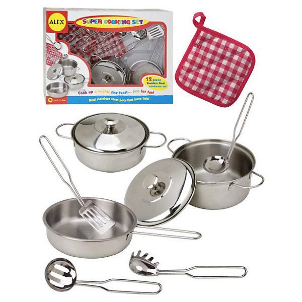 ALEX 603N Набор нержавеющей посудыДетские кухни<br>Набор посуды из нержавеющей стали, 12 предметов.<br><br>Прекрасный набор посуды для маленькой хозяйки. Все как у мамы! В наборе 12 предметов: кастрюли, прихватка, половник, шумовка и прочее.<br><br>Дополнительная информация:<br><br>Размеры упаковки (д/ш/в): 225x320x106 мм.<br><br>Маленькая хозяйка будет в восторге!<br><br>Ширина мм: 70<br>Глубина мм: 36<br>Высота мм: 53<br>Вес г: 635<br>Возраст от месяцев: 36<br>Возраст до месяцев: 96<br>Пол: Женский<br>Возраст: Детский<br>SKU: 2148482