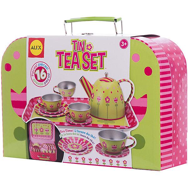 Чайный сервиз металлический Весна, ALEXДетские кухни<br>Чайный сервиз металлический Весна, ALEX (Алекс) -  это замечательный подарок для маленькой хозяйки. Проведение чайных вечеринок можно назвать одной из самых милых, домашних традиций. С этим сервизом маленькая хозяйка  может устраивать  чайные вечеринки по высшему разряду.<br>Упаковано в красивую удобную коробку с ручкой, закрывающуюся на кнопку. В ней очень удобно хранить все детали набора.<br><br>Дополнительная информация:<br><br>- В наборе 16 предметов: поднос, чайник, 4 чашки, 4 тарелочки, 4 блюдца. <br>- Размер упаковки: 48x62x32см.<br>- Вес: 635,6 г.<br><br>Чайный сервиз металлический Весна, ALEX - это желанный подарок для девочек!<br><br>Чайный сервиз металлический Весна, ALEX можно купить в нашем интернет-магазине.<br><br>Ширина мм: 62<br>Глубина мм: 32<br>Высота мм: 48<br>Вес г: 635<br>Возраст от месяцев: 36<br>Возраст до месяцев: 96<br>Пол: Женский<br>Возраст: Детский<br>SKU: 2148485