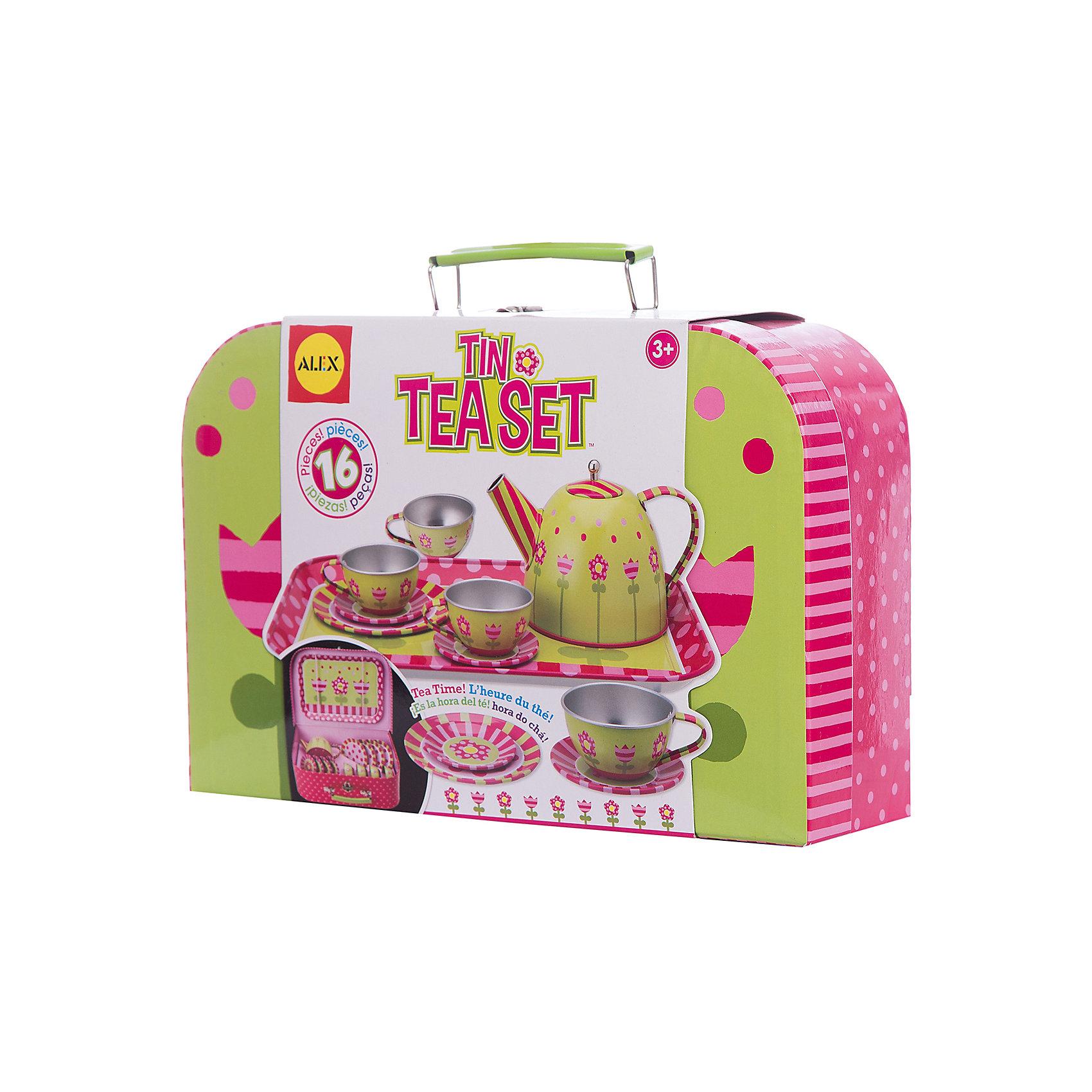 Чайный сервиз металлический Весна, ALEXЧайный сервиз металлический Весна, ALEX (Алекс) -  это замечательный подарок для маленькой хозяйки. Проведение чайных вечеринок можно назвать одной из самых милых, домашних традиций. С этим сервизом маленькая хозяйка  может устраивать  чайные вечеринки по высшему разряду.<br>Упаковано в красивую удобную коробку с ручкой, закрывающуюся на кнопку. В ней очень удобно хранить все детали набора.<br><br>Дополнительная информация:<br><br>- В наборе 16 предметов: поднос, чайник, 4 чашки, 4 тарелочки, 4 блюдца. <br>- Размер упаковки: 48x62x32см.<br>- Вес: 635,6 г.<br><br>Чайный сервиз металлический Весна, ALEX - это желанный подарок для девочек!<br><br>Чайный сервиз металлический Весна, ALEX можно купить в нашем интернет-магазине.<br><br>Ширина мм: 62<br>Глубина мм: 32<br>Высота мм: 48<br>Вес г: 635<br>Возраст от месяцев: 36<br>Возраст до месяцев: 96<br>Пол: Женский<br>Возраст: Детский<br>SKU: 2148485