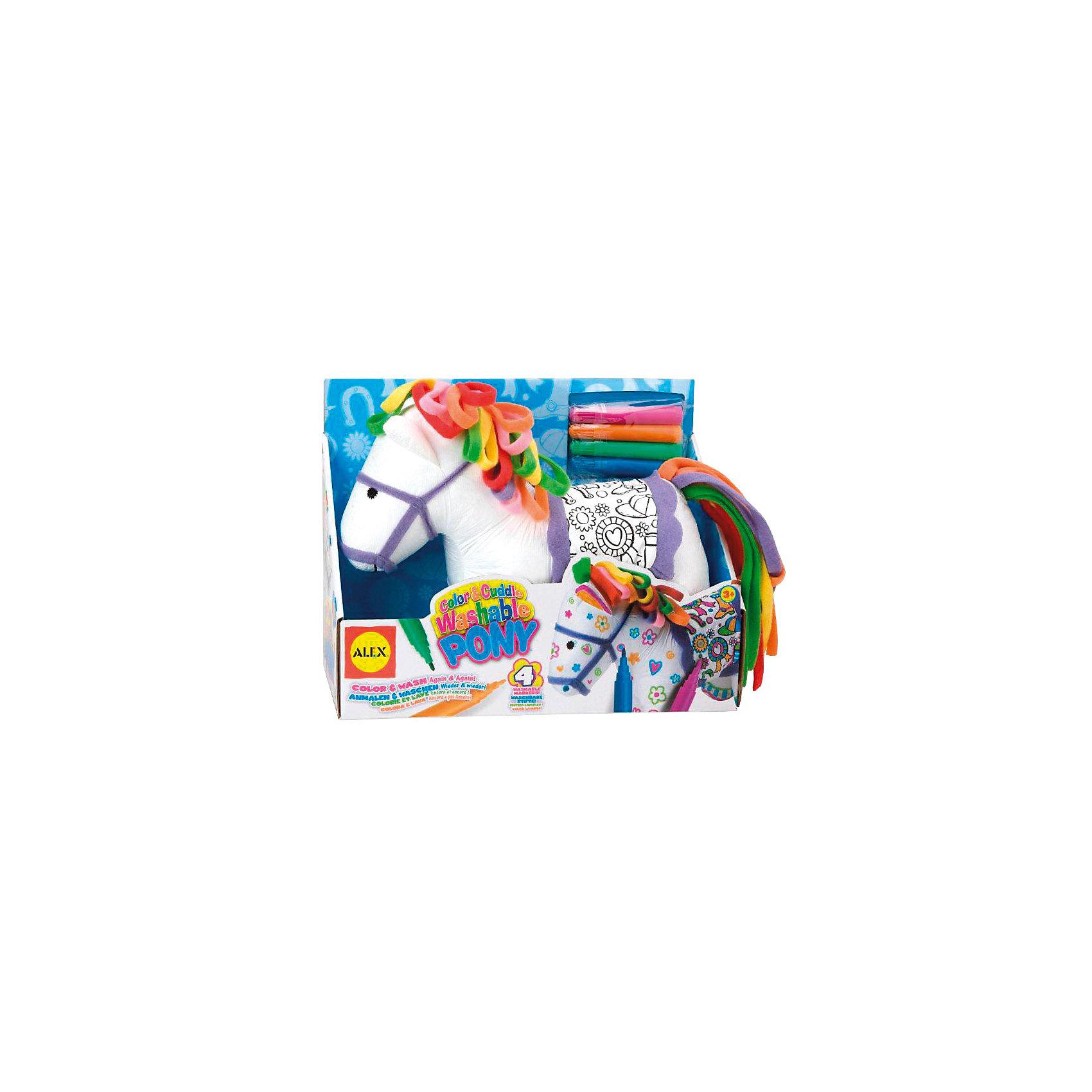 Набор для творчества Раскрась пони , ALEXНабор для творчества Раскрась пони со специальными фломастерами для ткани от ALEX. <br><br>Набор идеально подходит для детей, которым нравится рисовать не только на бумаге. <br>Этот забавный пони с разноцветной гривой хочет преобразиться! Ваш ребёнок сможет раскрасить в разные цвета седло с цветочным узором или даже нарисовать узоры на самом пони! <br>А если узор не получится или захочется нарисовать что-то новое, пони можно будет постирать и он снова будет готов к новым цветным приключениям.<br><br>Дополнительная информация:<br><br>В наборе: <br>мягконабивная игрушка, <br>фломастеры (4 цвета) для ткани. <br>Можно стирать в машинке. <br>Размер упаковки (д/ш/в): 38 х 30 х 30 см.<br><br>Легко купить в нашем интернет-магазине!<br><br>Ширина мм: 340<br>Глубина мм: 256<br>Высота мм: 126<br>Вес г: 401<br>Возраст от месяцев: 36<br>Возраст до месяцев: 96<br>Пол: Унисекс<br>Возраст: Детский<br>SKU: 2148518