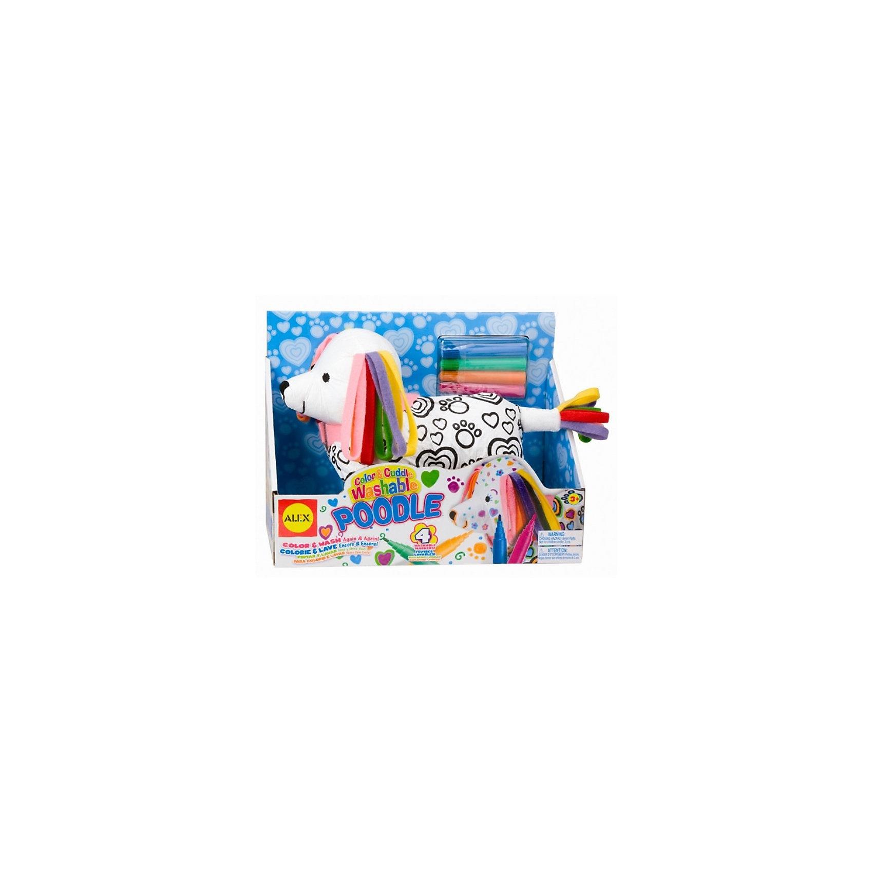 Набор для творчества Раскрась пуделя , ALEXНаборы для раскрашивания<br>Набор для творчества Раскрась пуделя от ALEX (Алекс) идеально подходит для детей, которым нравится рисовать не только на бумаге. Этот забавный щенок с разноцветными ушками  и хвостиком хочет преобразиться! Ваш ребенок помощью фломастеров для ткани сможет раскрасить в разные цвета пуделя и его одежду, на поверхности которой уже нанесен черный контур рисунка. А если узор не получится или захочется нарисовать что-то новое, пуделя и его одежду можно будет постирать и он снова будет готов к новым цветным приключениям.<br>Можно стирать в машинке. Одежда снимается. <br><br>Дополнительная информация:<br>- В наборе:  мягконабивная игрушка, фломастеры (4 цвета) для ткани, инструкция по уходу за игрушкой. <br>- Размер упаковки: 110x300x170 мм.<br>- Вес: 363,2 г.<br><br>С набором для творчества Раскрась пуделя малыш в веселой, увлекательной форме сможет раскрыть свой творческий потенциал, направив всю свою энергию на преображение предлагаемой игрушки.<br><br>ALEX 69WP Набор для творчества Раскрась пуделя можно купить в нашем интернет-магазине.<br><br>Ширина мм: 50<br>Глубина мм: 34<br>Высота мм: 36<br>Вес г: 363<br>Возраст от месяцев: 36<br>Возраст до месяцев: 96<br>Пол: Женский<br>Возраст: Детский<br>SKU: 2148519
