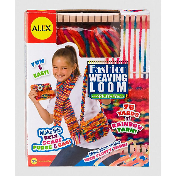 Ткацкий станок, ALEXНаборы для вязания<br>Настоящий ткацкий  станок, на котором можно изготовить  различные стильные вещички из яркой цветной пряжи! <br><br>Как приятно носить вещи, если они сделаны собственными руками из яркой и приятной пряжи. Из двух видов пряжи, которая входит в комплект, можно самостоятельно изготовить пояс, шарф, сумочку или кошелёк. Подробная и понятная инструкция поможет в этом, поэтому уже совсем скоро Ваш ребёнок сможет изготовить уникальные и неповторимые аксессуары. <br><br>Дополнительная информация:<br><br>В набор входит:  деревянный ткацкий станок компактного размера (25х19см), 69 м толстой пряжи, 9 м пуховой пряжи, спицы, аксессуары, подробная инструкция. <br><br>Интересный набор для креативных детей и родителей!<br>Ширина мм: 270; Глубина мм: 215; Высота мм: 65; Вес г: 545; Возраст от месяцев: 84; Возраст до месяцев: 180; Пол: Женский; Возраст: Детский; SKU: 2148526;
