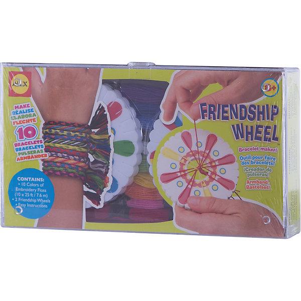 Набор для плетения фенечек из цветных шнуров , ALEXНаборы для создания украшений<br>Набор для плетения фенечек из цветных шнуров от  ALEX (Алекс) это замечательный комплект для юных модниц. Набор для плетения браслетов-фенечек, которые так любят юные модницы. У девочек будет возможность научиться плести браслеты для себя и своих подруг. Сплетите 10 браслетов-фенечек для друзей с помощью станка для плетения. Эксклюзивные модные аксессуары собственными руками!<br><br>Дополнительная информация:<br>- В наборе: шнуры для плетения (10 цветов), и 2 станка Колесо дружбы - один для вас, второй для Вашего друга. <br>- Размер упаковки:  25x48x30 см<br>- Вес: 272,5 г.<br><br>Набору для плетения фенечек из цветных шнуров будет рада любая девочка, которая желает  научиться мастерству создания украшений. <br><br>ALEX 137W Набор для плетения фенечек из цветных шнуров можно купить в нашем интернет-магазине.<br>Ширина мм: 48; Глубина мм: 30; Высота мм: 25; Вес г: 272; Возраст от месяцев: 96; Возраст до месяцев: 180; Пол: Женский; Возраст: Детский; SKU: 2148535;