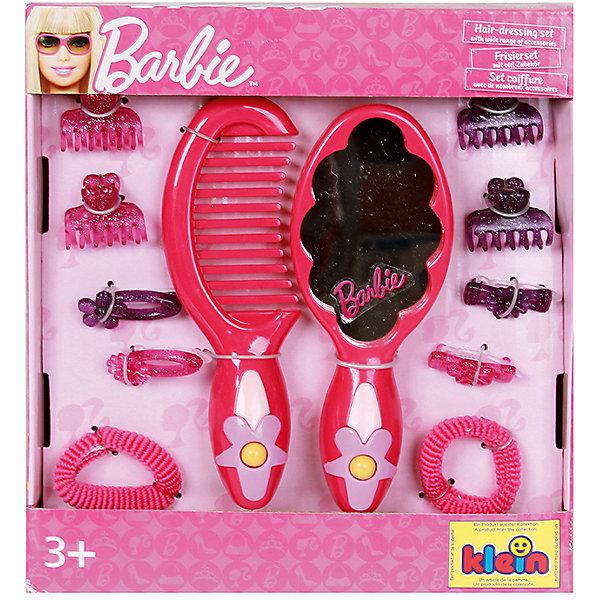 klein Набор с зеркалом Barbie, 12 предметовBarbie<br>В набор Барби для стилизации волос от klein (Кляйн) входят: расческа, различные заколочки и резиночки, расческа с зеркальцем. <br>Размер упаковки: 18х20х2,5 см.<br>Ширина мм: 120; Глубина мм: 120; Высота мм: 250; Вес г: 815; Возраст от месяцев: 60; Возраст до месяцев: 120; Пол: Женский; Возраст: Детский; SKU: 2148571;