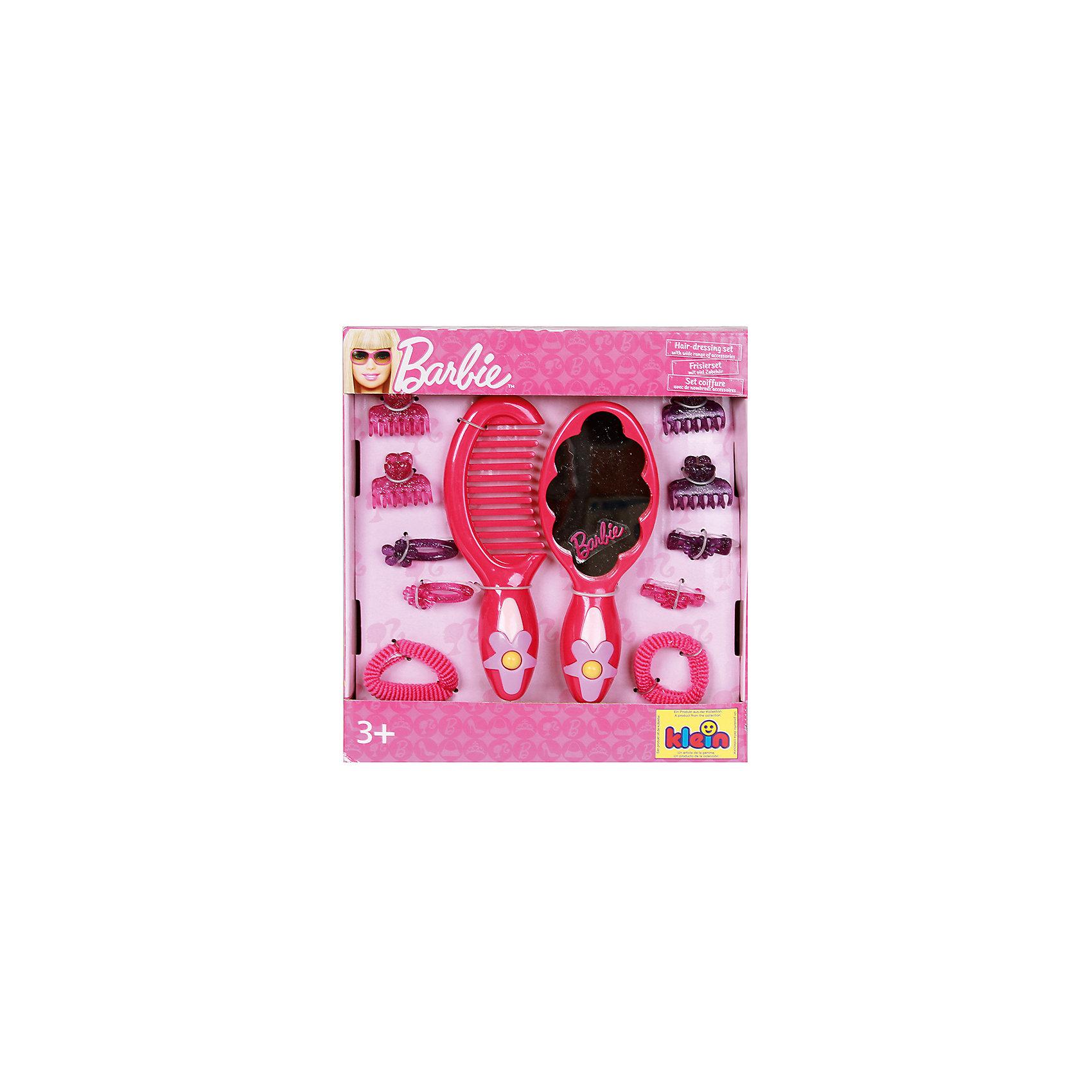 klein Набор с зеркалом Barbie, 12 предметовСалон красоты<br>В набор Барби для стилизации волос от klein (Кляйн) входят: расческа, различные заколочки и резиночки, расческа с зеркальцем. <br>Размер упаковки: 18х20х2,5 см.<br><br>Ширина мм: 120<br>Глубина мм: 120<br>Высота мм: 250<br>Вес г: 815<br>Возраст от месяцев: 60<br>Возраст до месяцев: 120<br>Пол: Женский<br>Возраст: Детский<br>SKU: 2148571
