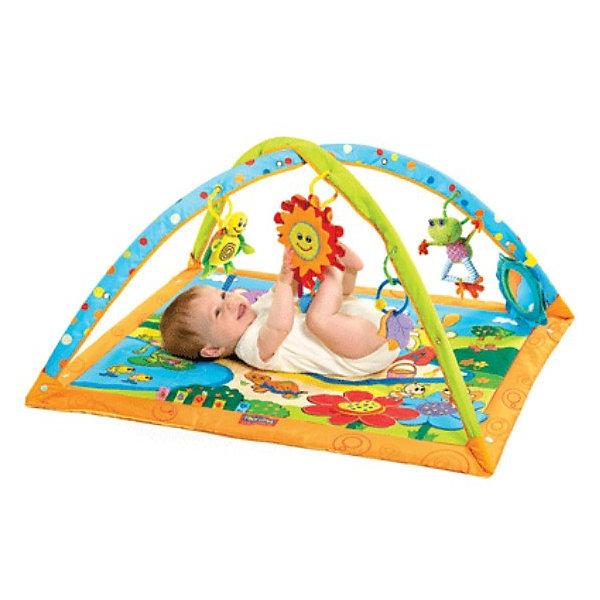 Развивающий коврик Солнечный денёк, Tiny LoveРазвивающие коврики<br>Яркий коврик с четырьмя игрушками, безопасным зеркалом и забавным солнышком с тремя мелодиями. Музыкальное солнышко реагирует на прикосновения ребёнка. Традиционная конструкция - мягкий квадратный коврик, перекрещивающиеся дуги с подвесными игрушками.<br><br>Игрушки: <br>- музыкальное солнышко с фактурными элементами (лучики, ленточки) - при ударе по нему ручкой или ножкой звучит одна из трех забавных мелодий;<br>- безопасное зеркало;<br>- листочки - прорезыватели;<br>- лягушонок - на резиночке; <br>- черепашка - погремушка.<br><br>На поверхности коврика кроме ярких картинок есть и сюрпризы - например, пищащий цветочек. <br><br><br>Материал: 50% хлопок, 50% п/э; подкладка: 100% п/э.<br>Элементы питания: 3 батарейки 1.5В типа АА (в комплект не входят).<br>Размеры: Д 71x Ш 59 x В 2 см.<br><br>Развивающий коврик Солнечный денёк, Tiny Love (Тини Лав) можно купить в нашем интернет магазине.<br><br>Ширина мм: 680<br>Глубина мм: 580<br>Высота мм: 30<br>Вес г: 1135<br>Возраст от месяцев: 0<br>Возраст до месяцев: 12<br>Пол: Унисекс<br>Возраст: Детский<br>SKU: 2148642