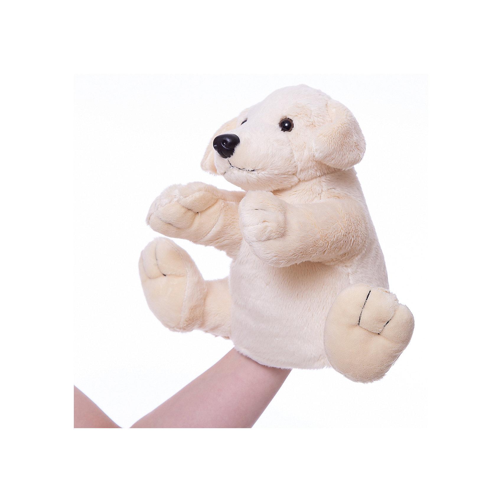 Gulliver Рукавичка-собакаМягкая игрушка рукавичка-собака.<br><br>Собачка сделана в виде рукавички одевающейся на руку, что позволяет волшебным образом превратить неподвижную и неразговорчивую игрушку, в настоящего домашнего питомца, который к тому же может поговорить или рассказать сказку. Кроме того можно устроить настоящее домашнее кукольное представление с участием различных животных из этой серии. <br><br>Дополнительная информация:<br><br>Размер: 27 см. <br><br>Рукавичка-собачка обязательно порадует Вашего малыша!<br><br>Ширина мм: 100<br>Глубина мм: 150<br>Высота мм: 270<br>Вес г: 50<br>Возраст от месяцев: 36<br>Возраст до месяцев: 84<br>Пол: Унисекс<br>Возраст: Детский<br>SKU: 2148686