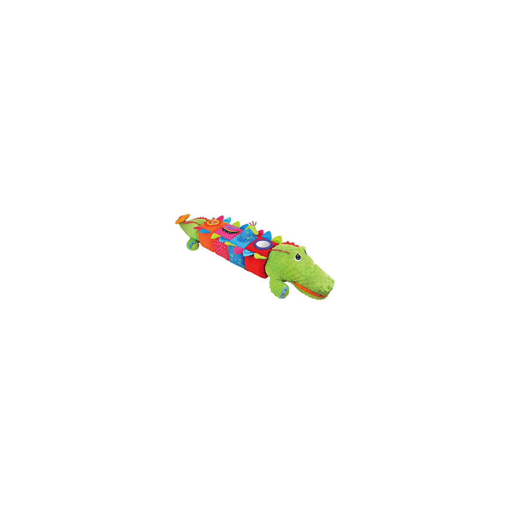 Развивающий центр Крокодил, Ks KidsРазвивающий центр Крокодил от Ks Kids.<br><br>Этот забавный мягкий Крокодил состоит из отдельных головы и хвоста, и 4 больших кубиков с различными развивающими игрушками и сюрпризами. <br><br>Малыш будет развивать творческое мышление, ведь Крокодила можно собирать в любой комплектности – голова + хвост, голова + 2 кубика + хвост и т.д. <br><br>Внутри каждой лапки крокодила находится пищалка, в хвосте - погремушка. За цветочек на хвосте можно потянуть, он будет забавно вибрировать и греметь, возвращаясь в исходное положение. На голове у крокодила есть 2 большие пуговоцы, а на хвосте - 2 большие петельки. Их можно застёгивать, тогда у малыша получится очаровательный маленький крокодильчик. <br><br>4 мягких кубика выполнены из ткани с различной фактурой. У каждого кубика две шуршащие грани и цифры от 1 до 4, а также развивающие игрушечки:<br>1) На 1-м – зеркальце диаметром 6,5 см (травмобезопасная зеркальная поверхность); <br>2) На 2-м – кармашек с маленьким крокодильчиком, только вылупляющимся из яйца, привязанный к кубику веревочкой; <br>3) На 3-м – прозрачный пластиковый роллер с цветными рыбками внутри (можно покрутить и погреметь); <br>4) На 4-м – две тканевые странички для листания, в одной пищалка, в другой шуршалка, а под ними – прозрачный пластиковый кармашек, куда можно вложить фотографию малыша и играть в прятки! Одна страничка с черно-белыми узорами. <br><br>Дополнительная информация:<br><br>Материал: полиэстер.<br>Длина игрушки: 119 см. <br>Размер кубика: 13х13х14 см.<br><br>Яркая ткань игрушки и различная фактура материала будут способствовать развитию моторики. Занимательная игра поощряет детскую любознательность. Малышу очень понравится яркий развивающий центр, с которым он не захочет расставаться!<br><br>Развивающий центр Крокодил, Ks Kids  - можно купить в нашем интернет - магазине.<br><br>Ширина мм: 500<br>Глубина мм: 120<br>Высота мм: 530<br>Вес г: 1400<br>Возраст от месяцев: 6<br>Возраст до месяцев: 36<br>Пол: Уни