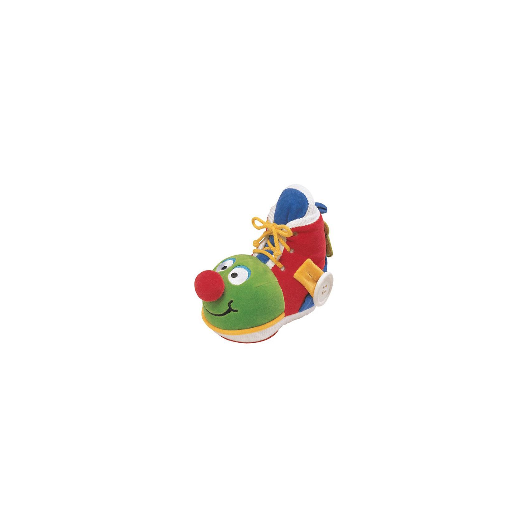 Ks Kids Развивающий ботинок с зеркаломРазвивающая игрушка-ботинок с зеркалом от Ks Kids. <br><br>С помощью этой замечательной игрушки Ваш малыш быстро научится шнуровать ботинки, расстегивать и застегивать пуговицы, пользоваться молниями. В башмачке есть небьющееся зеркальце, а материал игрушки - комбинированный: от очень мягкого до шероховатого, что так важно для тактильных ощущений малышей.<br><br>Дополнительная информация:<br><br>- Материал: мягкая ткань, пластик.<br>- Размер: 20 х 11 х 19 см.<br><br>Улыбающийся ботинок очень понравится Вашему малышу!<br><br>Ширина мм: 230<br>Глубина мм: 210<br>Высота мм: 110<br>Вес г: 308<br>Возраст от месяцев: 6<br>Возраст до месяцев: 36<br>Пол: Унисекс<br>Возраст: Детский<br>SKU: 2148750