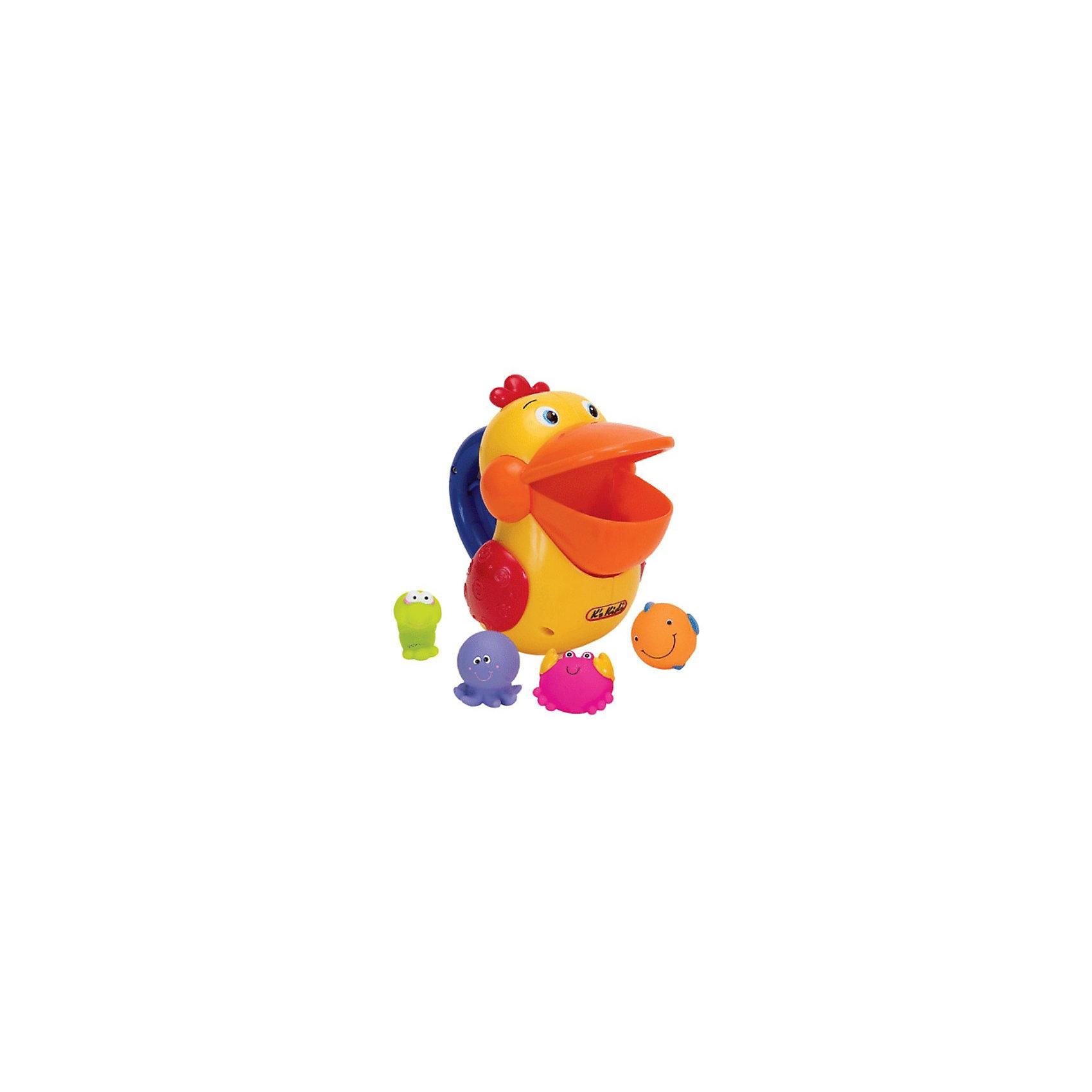 Ks Kids Голодный пеликан для ваннойУвлекательная игрушка для ванной Голодный Пеликан.<br><br>Можно взять Пеликана за ручку с большой кнопкой (на кнопке - специальные углубления, чтобы ручка малыша не скользила во время игры) и просто зачерпываем клювом Пеликана всю живность, которая плавает в воде.<br>Клюв Пеликана имеет много маленьких дырочек, через которые вода вытекает, а игрушка остается внутри. Если нажать на кнопку, Пеликан хлопнет крыльями и закроет клюв – проглотил добычу. Внизу у  Пеликана есть отверстие, через которое добыча ускользает обратно в воду.<br>Море эмоций и удовольствия Вашему малышу принесет это открытие.<br>Теперь надо Пеликана кормить снова!<br><br><br>Дополнительная информация:<br><br>В комплекте:<br>- Голодный Пеликан,<br>- фиолетовый осьминожек,<br>- оранжевая рыбка,<br>- розовый крабик<br>- зелёная креветка.<br><br>Материал: высококачественный пластик.<br><br>Размеры:<br>Пеликан – 19 х 12 х 16 см, морские обитатели - 4 х 3,5 х 3 см.<br>Упаковка: 29 х 14,5 х 23 см.<br>Возраст: от 1 года.<br><br>Прекрасная игрушка, стимулирует восприятие цветов, мелкую моторику и координацию движений малыша!<br><br>Ширина мм: 290<br>Глубина мм: 230<br>Высота мм: 150<br>Вес г: 267<br>Возраст от месяцев: 12<br>Возраст до месяцев: 36<br>Пол: Унисекс<br>Возраст: Детский<br>SKU: 2148756