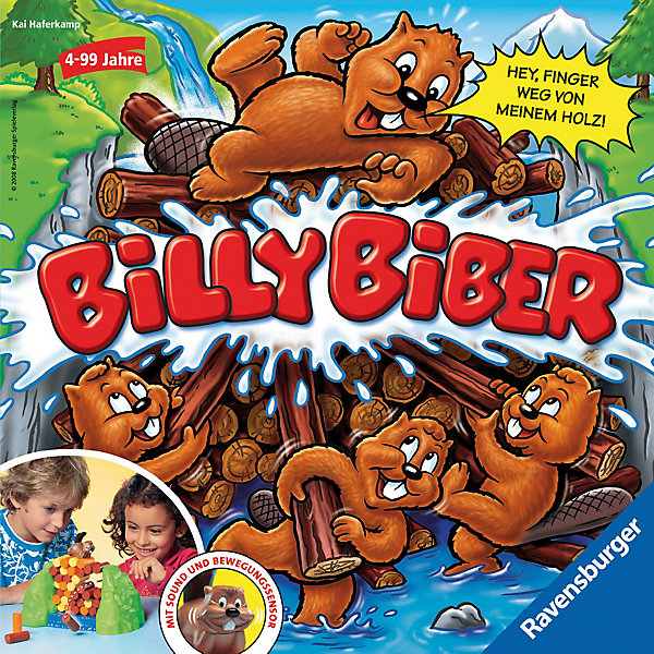 Настольная игра Билли бобёр RavensburgerНастольные игры для всей семьи<br>Настольная игра Билли бобёр (на русском языке) от Ravensburger - это веселое времяпрепровождение для Ваших детей, которое развивает смекалку, ловкость и внимательность!<br><br>В начале игры участникам необходимо построить из бревен плотину по указанной в инструкции схеме. Затем - усадить на самый верх плотины бобра Билли, задача которого - охранять аккуратно сложенные штабелем брёвна.<br><br>Теперь игроки должны по очереди выталкивать бревнышки из плотины таким образом, чтобы конструкция не разрушилась. Действовать нужно аккуратно и незаметно для Билли! Одно неловкое движение - и плотина может развалиться. В этом случае бобёр замечает дерзкого воришку и начинает громко возмущаться. Кто незаметно захватит наибольшее количество брёвен, становится победителем.<br><br>Фигурка бобра оснащена забавными звуковыми эффектами и может покачивать головой.<br><br>Эта увлекательная игра способствует развитию мелкой моторики рук, координации движения, внимательности, аккуратности и ловксти.<br><br>Развивающие настольные игры от Ravensburger - занимательный и полезный досуг для Вашего ребенка!<br><br><br>Дополнительная информация:<br><br>- Комплектация: игровое поле (пруд, в котором Билли выкладывает плотину), 42 бревна длиной 4,5 см (10 оражевых, 12 желтых и 20 коричневых), 1 фигурка бобра, 1 деревянная палочка длиной 14 см,правила игры на русском языке.<br><br>- Количество игроков: 1-4 человек<br>- Игрушка работает от 2 батареек АА.<br>- Размер упаковки: 27 х 27 х 11 см<br>- Вес: 0,8 кг<br>Ширина мм: 112; Глубина мм: 265; Высота мм: 265; Вес г: 760; Возраст от месяцев: 48; Возраст до месяцев: 1188; Пол: Унисекс; Возраст: Детский; SKU: 2148762;