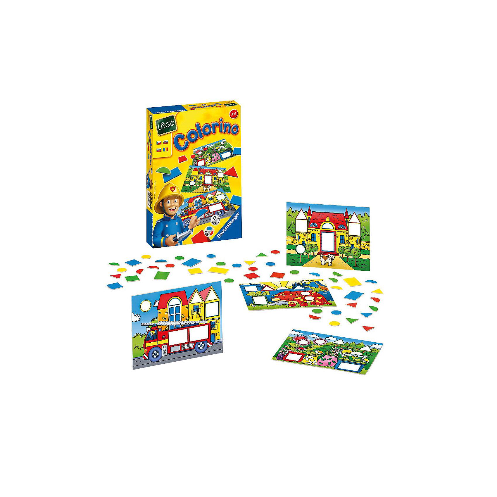 Настольная игра Цвета и формы RavensburgerИзучаем цвета и формы<br>Эта увлекательная развивающая игра от фирмы Ravensburger открывает ребенку дорогу к познанию основных цветов и форм. <br><br>Подбирая фигуры по форме и цвету, ребенок в игровой форме знакомится с их многообразием. Возможны различные варианты игры: и простая подборка по заданным на игровом поле параметрам и поиск подходящего варианта, выпавшего на игровом кубике.<br><br>Детали выполнены из плотного качественного картона, который не мнется при использовании. Такая игра прослужит Вам и Вашему малышу долго.<br><br>Занимательная игра Цвета и формы от Ravensburger развивает логическое мышление, память и мелкую моторику пальцев и рук.<br><br>Дополнительная информация:<br><br>В комплекте:<br>- 4 игровые карточки-картинки;<br>- 64 разноцветные фишки – различные геометрические формы;<br>- игральный кубик с цветными точками;<br>- игральный кубик с геометрическими формами;<br>- инструкция на русском языке. <br><br>Продолжительность игры: 20 мин.<br>Размеры упаковки (д/ш/в): 22,5 х 33 х 3,5 см. <br>Количество игроков: 2-8.<br><br>Ширина мм: 225<br>Глубина мм: 330<br>Высота мм: 35<br>Вес г: 503<br>Возраст от месяцев: 36<br>Возраст до месяцев: 72<br>Пол: Унисекс<br>Возраст: Детский<br>SKU: 2148765