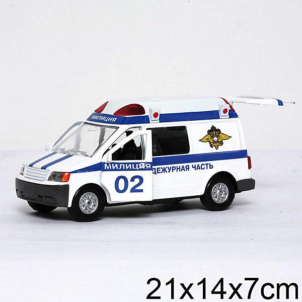 Микроавтобус Милиция, ТЕХНОПАРКМашинки<br>Характеристики:<br><br>• тип игрушки: машина;<br>• возраст: от 3 лет;<br>• размер: 21х9х7 см;<br> • цвет: белый;<br>• масштаб: 1:43;<br>• материал: металл, пластик;<br>• бренд: Технопарк;<br>• страна производителя: Китай.<br><br>Машинка Технопарк «Микроавтобус. Милиция» -  это качественная копия реального автомобиля с высокой детализацией. Представляет собой игрушечную копию реального милицейского автомобиля, которого можно встретить на улицах города. У машины открываются одна задняя и две передние двери, модель оснащена свето-звуковыми эффектами. Встроенный инерционный механизм позволяет микроавтобусу ездить самостоятельно по ровной поверхности.<br>Настоящая радость для ребенка, особенно если он неравнодушен к технике. Игра в машинки помогает растущему малышу в развитии внимания, направляет на освоение физического пространства, помогают в понимании понятий. <br>Машинку Технопарк «Микроавтобус. Милиция»  можно купить в нашем интернет-магазине.<br>Ширина мм: 80; Глубина мм: 210; Высота мм: 150; Вес г: 300; Возраст от месяцев: 36; Возраст до месяцев: 120; Пол: Мужской; Возраст: Детский; SKU: 2149058;