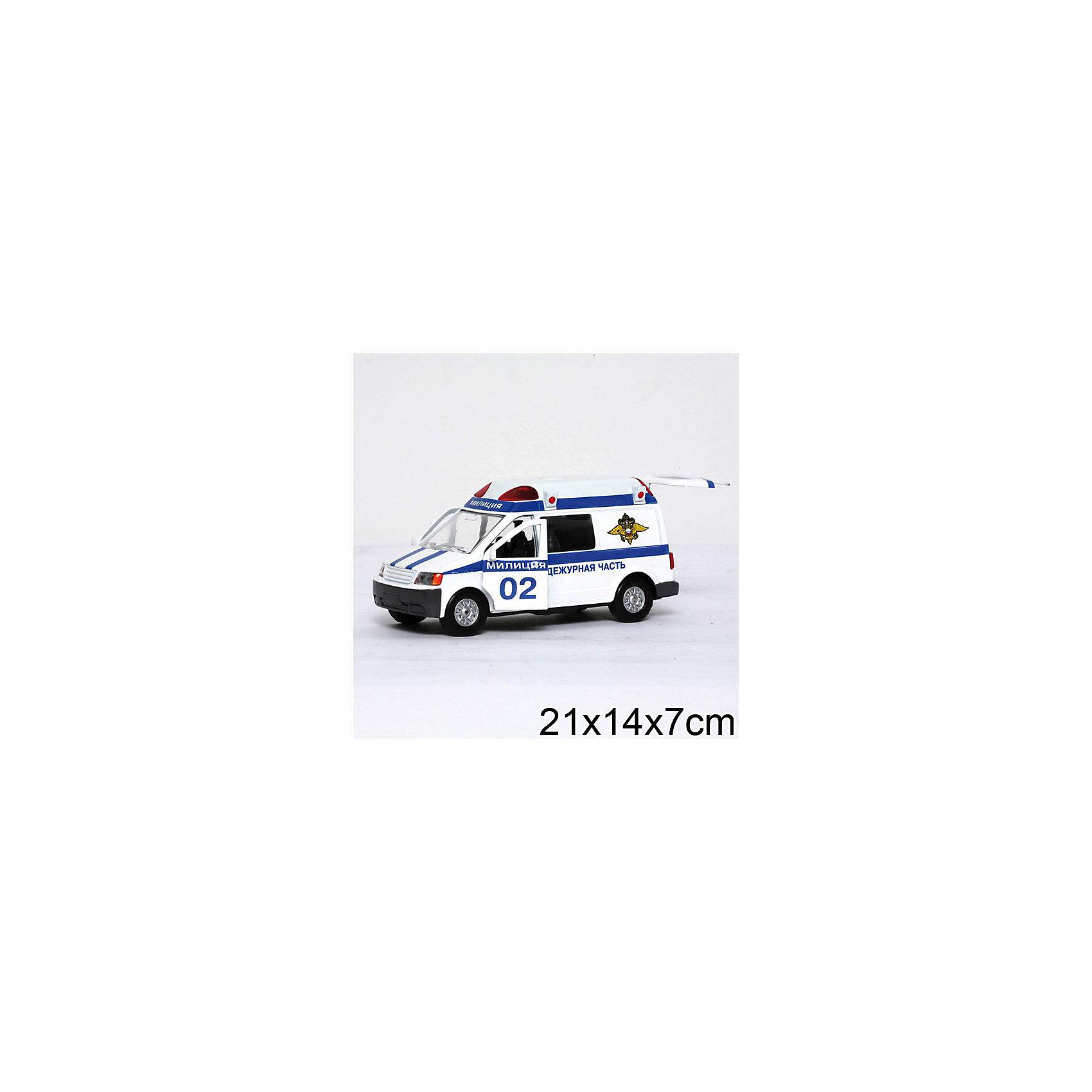 Микроавтобус Милиция, ТЕХНОПАРКМашинки<br>Микроавтобус Милиция, ТЕХНОПАРК разнообразит игры ребенка, а также станет прекрасным дополнением домашней коллекции моделей автомобилей. Милицейская машинка отличается цпециальной цветографической схемой и проблесковыми маяками на крыше, которые при нажатии на кнопку воспроизводят звук и свет.<br><br>Дополнительная информация:<br><br>- размеры: 21 х 14 х 7 см<br>- материал: металл, пластик<br>- инерционный механизм<br>- светоывые и звуковые эффекты<br>- двери и багажник открываются<br>- для воспроизводства световых и звуковых эффектов необходимы батарейки (демонстрационные в комплекте)<br><br>Микроавтобус Милиция, ТЕХНОПАРК можно купить в нашем магазине.<br><br>Ширина мм: 80<br>Глубина мм: 210<br>Высота мм: 150<br>Вес г: 300<br>Возраст от месяцев: 36<br>Возраст до месяцев: 120<br>Пол: Мужской<br>Возраст: Детский<br>SKU: 2149058