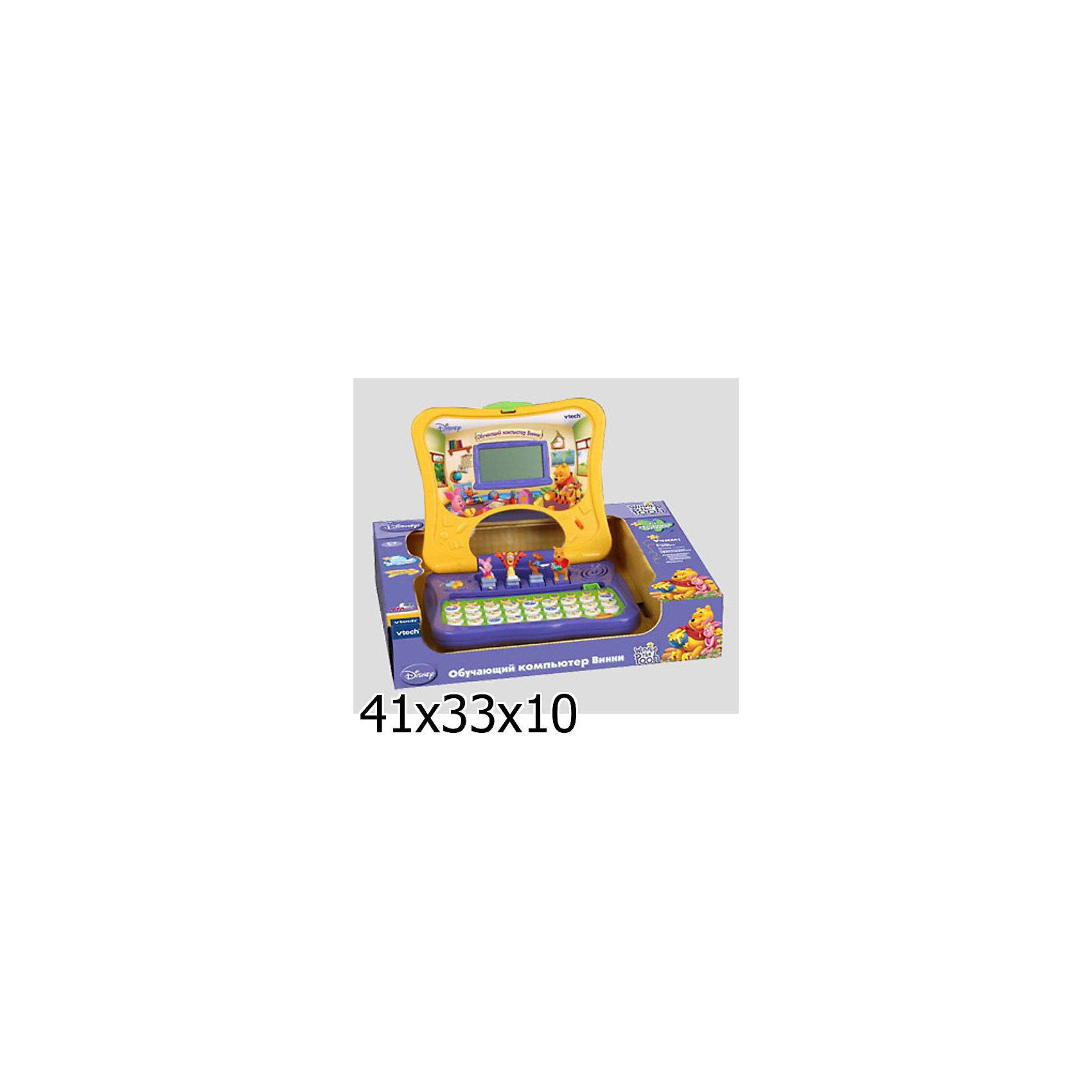 Vtech Обучающий компьютер ВинниVtech Обучающий компьютер Винни - отличная развивающая игрушка для Вашего малыша, обладает следующими достоинствами:<br><br>- 11 обучающих программ<br>- 33 буквы алфавита<br>- цифры от 0 до 9<br>- 3D фигуры<br>- большой LCD-экран<br>- режим вопросов<br>- фонетика<br>- пополняем словарный запас<br>- простые математические навыки<br>- музыка<br>- сравнение<br>- тренируем навык печатания на клавиатуре<br>- регулировка громкости<br>- озвучивание: профессиональное (одноголосое) <br><br>Этот красочный компьютер включает 11 обучающих программ, с помощью которых Ваш малыш научится произносить буквы и цифры, пополнит словарный запас, научится считать и разовьёт чувство ритма. Настоящие голоса героев, 3D фигуры, забавная анимация и звуковые эффекты вызовут интерес к игре и разовьют самостоятельность. Вопросы и игры на внимательность помогут закрепить полученные знания, научат мыслить логически, и будут способствовать развитию реакции. Большой LCD-экран поможет в развитии ассоциативного мышления. <br>Развивает логико-математические, коммуникативные, музыкальные, сенсорные способности. Тренирует  логическое, исследовательское мышление, а также навыки чтения и письменной речи.<br><br>Обучающий компьютер Винни станет прекрасным подарком для любознательных малышей!<br><br>Дополнительная информация:<br><br>- Материал: пластик<br>- Размер: 26 х 28 см<br>- Батарейки: 3 х АА, не входят в комплект<br>- Вес: 0.789  кг<br><br>Игрушку Обучающий компьютер Винни от Vtech можно купить в нашем интернет-магазине.<br><br>Ширина мм: 90<br>Глубина мм: 420<br>Высота мм: 330<br>Вес г: 1630<br>Возраст от месяцев: 12<br>Возраст до месяцев: 48<br>Пол: Унисекс<br>Возраст: Детский<br>SKU: 2149231