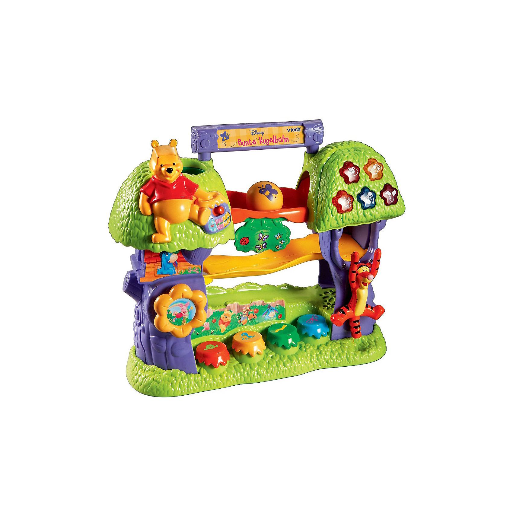 Развивающая игрушка Дерево Винни, VtechОбучающее дерево Винни, Vtech. <br><br>С помощью обучающего дерева Ваш малыш выучит буквы алфавита и цифры, научится различать цвета и животных.<br>Запатентованная система распознавания шариков вызовет неподдельный интерес, разовьёт крупную и мелкую моторику Вашего ребёнка.<br>Малыш научится хватать, бросать и ощупывать предметы, разовьёт наглядно-образное мышление и тактильную чувствительность.<br>С помощью режима вопросов Ваш малыш закрепит полученные знания, а мелодии помогут развить чувство ритма.<br><br>Дополнительная информация:<br><br>- 2 режима работы;<br>- 10 обучающих программ;<br>- буквы и цифры;<br>- цвета и животные;<br>- мелодии;<br>- уникальная система распознавания шариков;<br>- 4 разноцветных шарика и отсек для их хранения;<br>- режим вопросов;<br>- профессиональное озвучивание (одноголосное).<br>- игрушка русифицирована.<br><br>Размер товара: 15 х 33 х 41 см<br><br>Игрушка работает от 2-х батареек типа АА (входят в комплект).<br><br>Ваш малыш с удовольствием будет учить алфавит и цифры, ведь в этом ему поможет лучший друг всех детишек Винни-Пух!<br><br>Ширина мм: 50<br>Глубина мм: 410<br>Высота мм: 330<br>Вес г: 2300<br>Возраст от месяцев: 12<br>Возраст до месяцев: 36<br>Пол: Унисекс<br>Возраст: Детский<br>SKU: 2149252