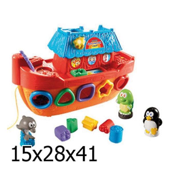 Обучающий корабль, VtechИнтерактивные игрушки для малышей<br>Обучающий корабль, Vtech (Втеч).<br><br>Характеристики:<br><br>• Для детей от 1 года<br>• Комплектация: корабль, 4 фигурки животных, 5 фигурок для сортера<br>• Обучение: учим животных и их звуки, цвета, фигуры<br>• Особенности: 2 режима (учеба, игра), сортер, сенсорная платформа, светящийся колокольчик, вращающийся штурвал, регулятор громкости, таймер автоматического отключения<br>• Песня из мультфильма «Мама для мамонтенка»<br>• Размер корабля: 13,5x32x21 см.<br>• Материал: пластик<br>• Батарейки: 2хAA (в комплекте демонстрационные)<br>• Упаковка: красочная подарочная коробка<br>• Размер упаковки: 40,6x27,9x14,8 см.<br><br>Добро пожаловать на борт обучающего корабля! Красочный яркий корабль с фигурками животных сразу привлечет внимание малыша и отправит его в увлекательное и познавательное морское путешествие. В комплекте с кораблем ребенок найдет 4 фигурки животных, а также 5 фигурок для сортера. Сортируя цветные фигурки и проталкивая их в отверстия, малыш научится распознавать цвета и геометрические фигуры. <br><br>Достать фигурки можно открыв дверцу с обратной стороны корабля. Если поставить фигурку животного на специальную платформу, то кораблик расскажет ребенку о том, как называется это животное, его особенности и звуки. Когда малыш немного подрастет, он сможет катать игрушку за веревочку. Игрушка изготовлена из прочного безопасного не бьющегося пластика. Продается в красочной коробке и идеально подходит в качестве подарка.<br><br>Обучающий корабль, Vtech (Втеч) можно купить в нашем интернет-магазине.<br>Ширина мм: 150; Глубина мм: 410; Высота мм: 280; Вес г: 1800; Возраст от месяцев: 12; Возраст до месяцев: 48; Пол: Унисекс; Возраст: Детский; SKU: 2149255;