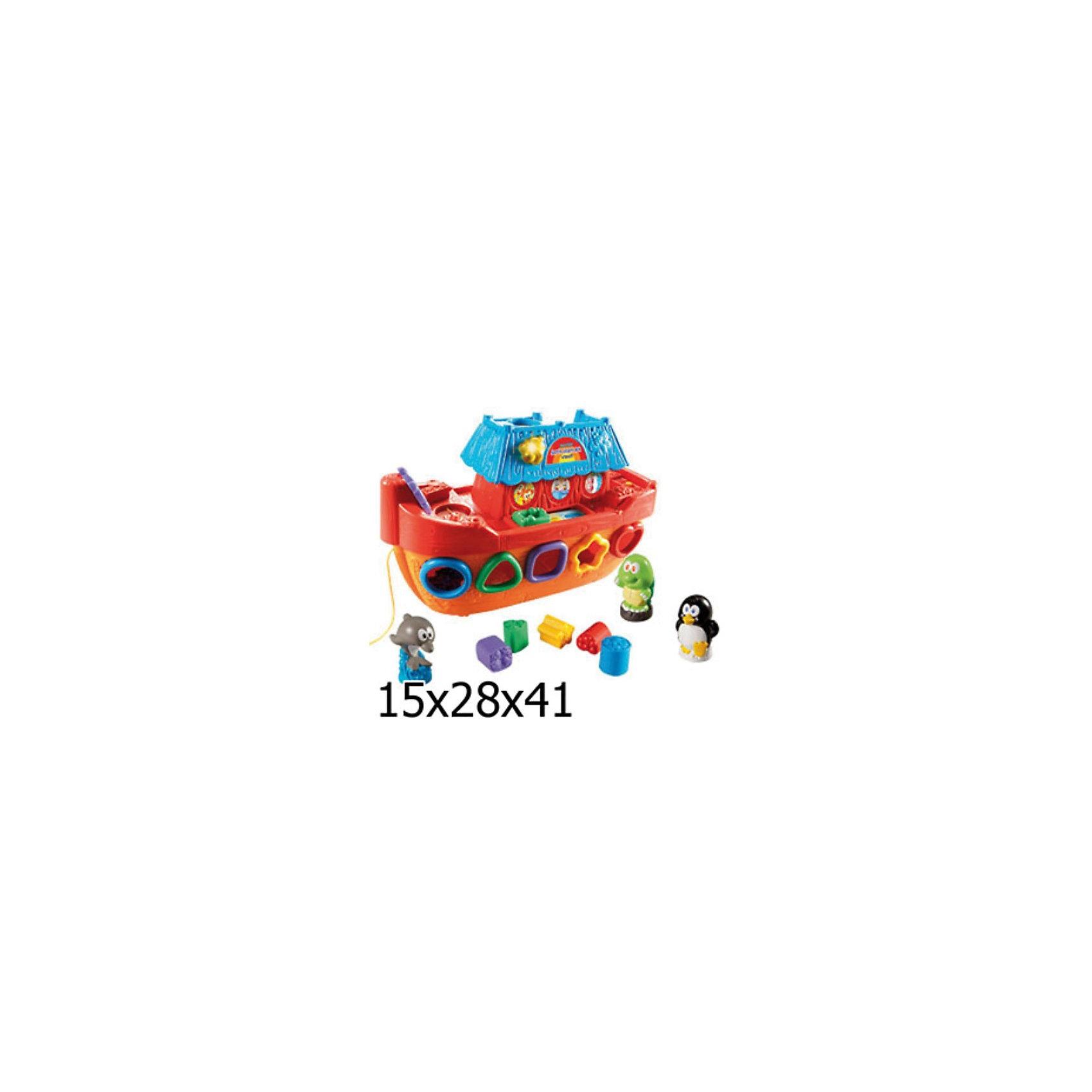 Обучающий корабль, VtechИнтерактивные игрушки для малышей<br>Обучающий корабль, Vtech (Втеч).<br><br>Характеристики:<br><br>• Для детей от 1 года<br>• Комплектация: корабль, 4 фигурки животных, 5 фигурок для сортера<br>• Обучение: учим животных и их звуки, цвета, фигуры<br>• Особенности: 2 режима (учеба, игра), сортер, сенсорная платформа, светящийся колокольчик, вращающийся штурвал, регулятор громкости, таймер автоматического отключения<br>• Песня из мультфильма «Мама для мамонтенка»<br>• Размер корабля: 13,5x32x21 см.<br>• Материал: пластик<br>• Батарейки: 2хAA (в комплекте демонстрационные)<br>• Упаковка: красочная подарочная коробка<br>• Размер упаковки: 40,6x27,9x14,8 см.<br><br>Добро пожаловать на борт обучающего корабля! Красочный яркий корабль с фигурками животных сразу привлечет внимание малыша и отправит его в увлекательное и познавательное морское путешествие. В комплекте с кораблем ребенок найдет 4 фигурки животных, а также 5 фигурок для сортера. Сортируя цветные фигурки и проталкивая их в отверстия, малыш научится распознавать цвета и геометрические фигуры. <br><br>Достать фигурки можно открыв дверцу с обратной стороны корабля. Если поставить фигурку животного на специальную платформу, то кораблик расскажет ребенку о том, как называется это животное, его особенности и звуки. Когда малыш немного подрастет, он сможет катать игрушку за веревочку. Игрушка изготовлена из прочного безопасного не бьющегося пластика. Продается в красочной коробке и идеально подходит в качестве подарка.<br><br>Обучающий корабль, Vtech (Втеч) можно купить в нашем интернет-магазине.<br><br>Ширина мм: 150<br>Глубина мм: 410<br>Высота мм: 280<br>Вес г: 1800<br>Возраст от месяцев: 12<br>Возраст до месяцев: 48<br>Пол: Унисекс<br>Возраст: Детский<br>SKU: 2149255