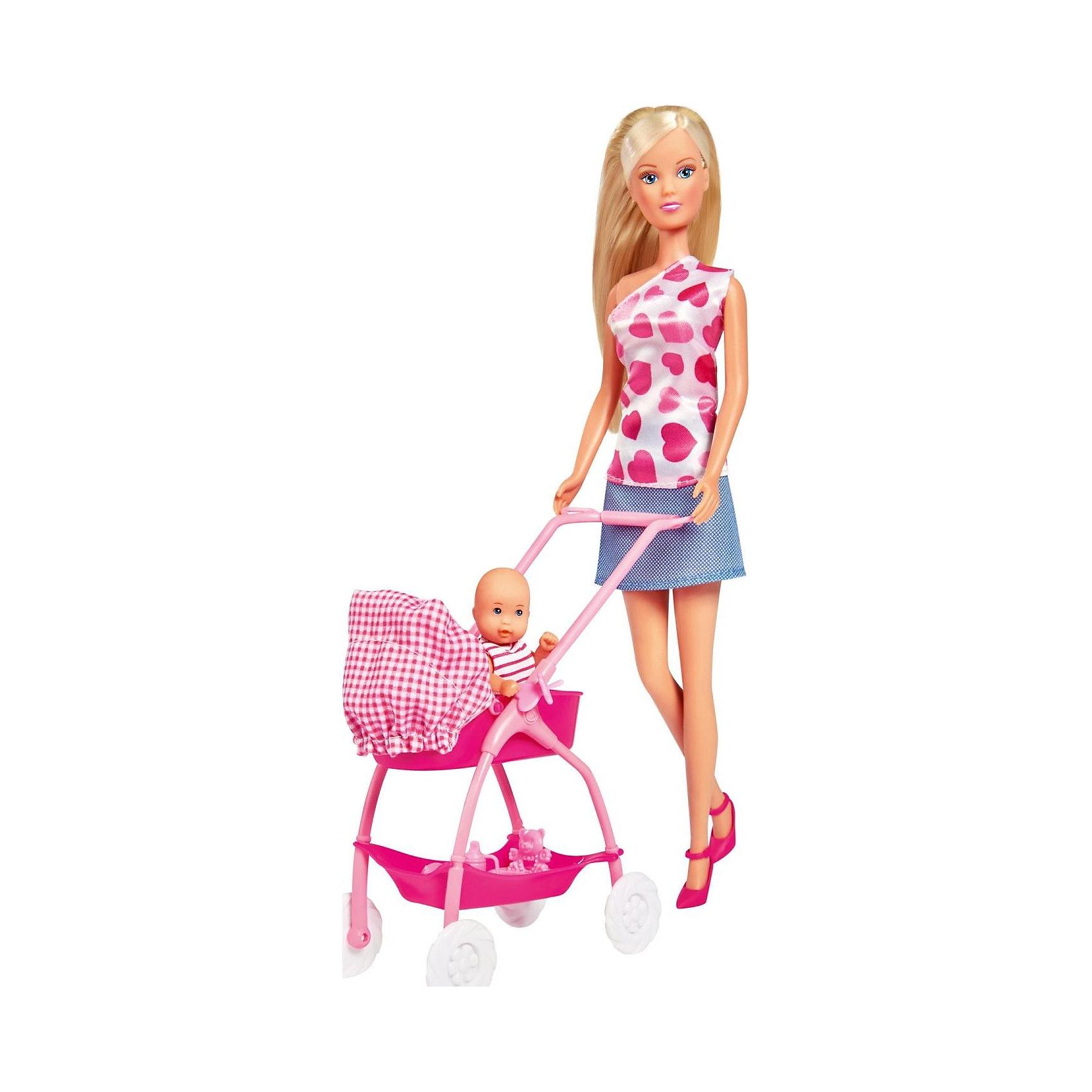 Кукла Штеффи с новорожденным, SimbaБренды кукол<br>Комплект: кукла Штеффи, пупс, коляска, ванночка, весы, мебель.<br><br>Ширина мм: 330<br>Глубина мм: 100<br>Высота мм: 400<br>Вес г: 700<br>Возраст от месяцев: 36<br>Возраст до месяцев: 84<br>Пол: Женский<br>Возраст: Детский<br>SKU: 2149313