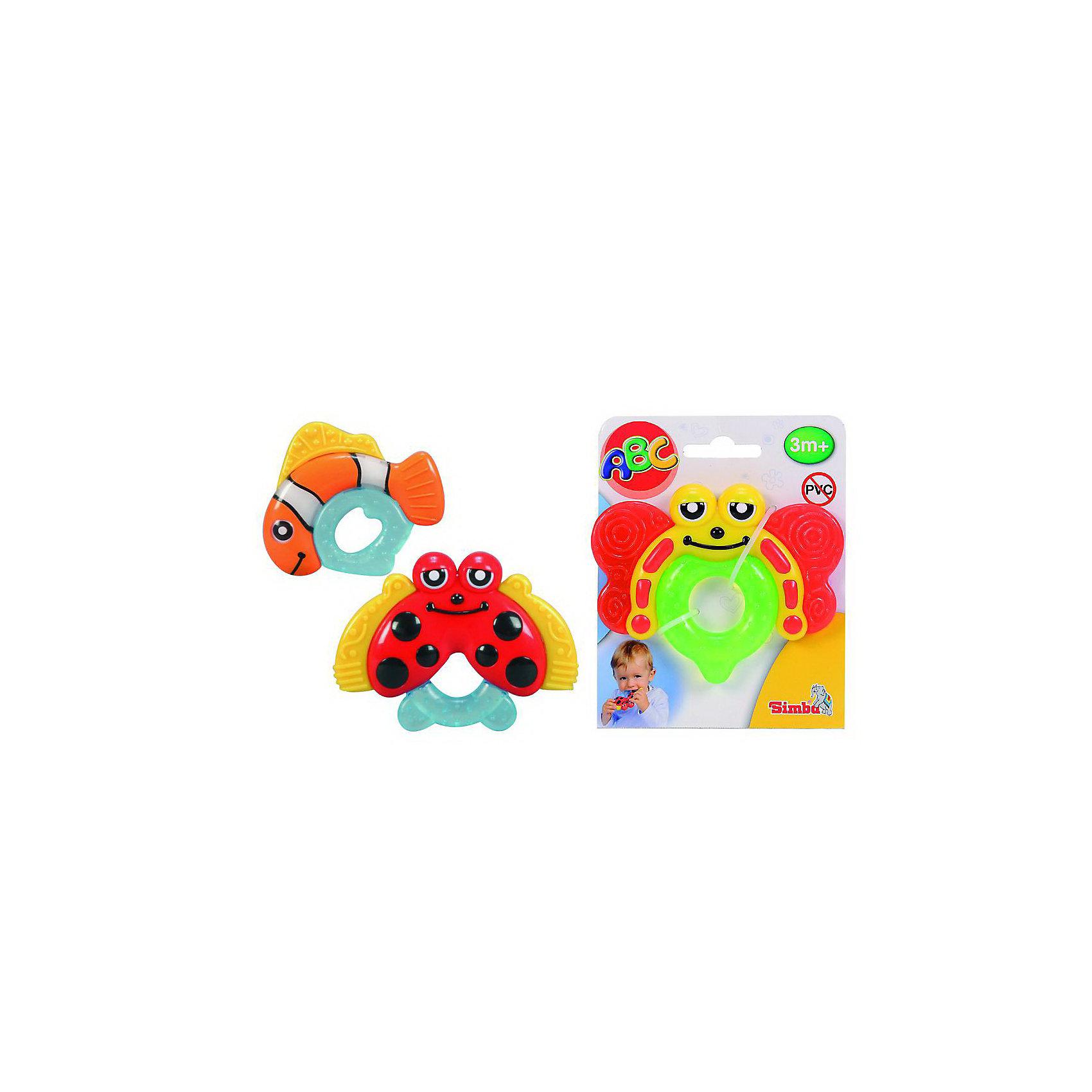 Simba ПрорезывательПрорезыватели<br>Забавные игрушки-прорезыватели в трех различных вариантах: в виде божьей коровки, бабочки и рыбки. Прозрачные каучуковые детали заполнены гелем и оказывают успокаивающее действие на десны ребенка. Охлаждать исключительно в холодильнике, не в морозилке. Не содержат ПВХ. <br><br>Дополнительная информация:<br><br>- Материал: пластмасса, каучук<br>- Размер:  10 см.<br>- Размер Упаковки: 12х1,5х15 см.<br>- Вес: 70 гр.<br><br>ВНИМАНИЕ! Данный артикул имеется в наличии в разных вариантах исполнения. Заранее выбрать определенный вариант нельзя. При заказе нескольких прорезывателей возможно получение одинаковых.<br><br>Игрушки-прорезыватели можно купить в нашем магазине.<br><br>Ширина мм: 120<br>Глубина мм: 20<br>Высота мм: 150<br>Вес г: 68<br>Возраст от месяцев: 3<br>Возраст до месяцев: 24<br>Пол: Унисекс<br>Возраст: Детский<br>SKU: 2149354