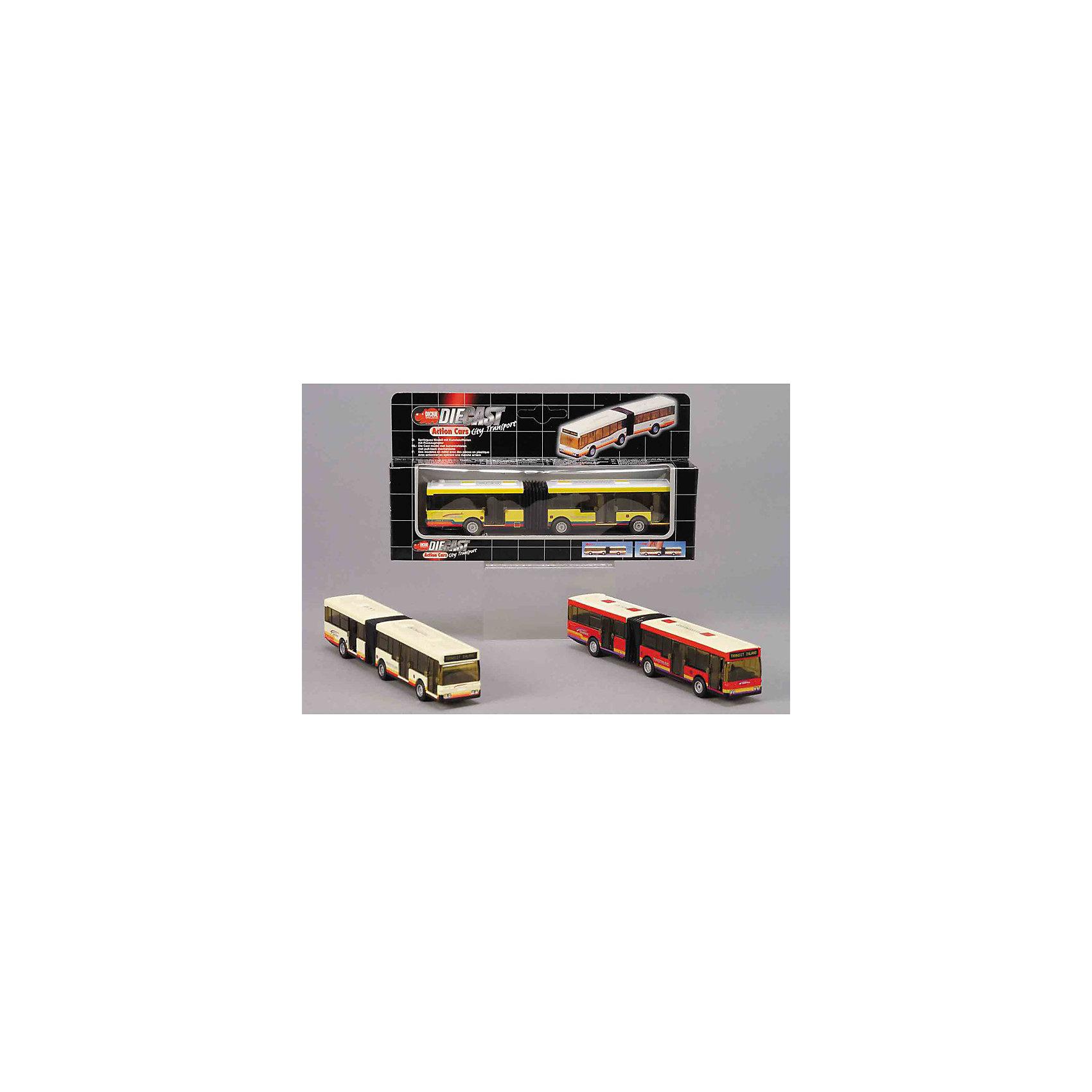 Автобус, DICKIEDICKIE Автобус - инерционный автобус,  выполненный в масштабе 1 :87 , из серии Action car. <br><br>Двери открываются, посередине есть гибкая резиновая гармошка.  <br><br><br>Дополнительная информация:<br><br>- Размер:  18,5 см.<br>- Материалы: резина, пластмасса.<br>- В ассортименте 3 вида, отличающиеся по цвету.<br>ВНИМАНИЕ! К сожалению, заранее выбрать определенный цвет игрушки невозможно. При заказе нескольких, возможно получение одинаковых.<br><br><br>Отличная, занимательная игрушка для вашего ребенка. Автобус совсем как настоящий, только маленький!<br><br>Ширина мм: 230<br>Глубина мм: 40<br>Высота мм: 73<br>Вес г: 213<br>Возраст от месяцев: 48<br>Возраст до месяцев: 1164<br>Пол: Мужской<br>Возраст: Детский<br>SKU: 2149384