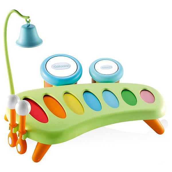 Smoby Cotoons Музыкальный инструмент - ксилофонКсилофоны<br>Ксилофон от Smoby может стать первым музыкальным инструментом Вашего малыша.<br><br>Ксилофон стоит на небольших ножках. Его можно разместить на столике около малыша либо прямо на полу. У ксилофона 7 разноцветных звонких пластин, по которым так весело стучать специальными палочками, создавая свою собственную музыку. На корпусе ксилофона есть места для крепления дополнительных инструментов и для хранения палочек. Звонкий колокольчик занимает особое место в музыкальном наборе. Его звук заворожит любого малыша. Колокольчик крепится на высоком штативе с крючком. У тамбуринов разное звучание, постучите по ним попоременно. После игры они подвешиваются на одной стороне ксилофона. При использовании отдельно тамбурины превращаются в отличные маракасы.<br><br>Дополнительная информация:<br><br>В комплект входят:<br>- ксилофон; <br>- 2 тамбурина (диаметр 7 см и 9 см); <br>- металлический колокольчик с крючком; <br>- 2 палочки (длина 10,5 см). <br><br>Материал: пластмасса, металл.<br><br>Размер:  25 х 31 х 26 см.<br><br>Современная музыкальная игрушка для Вашего ребёнка!<br><br>Ширина мм: 310<br>Глубина мм: 260<br>Высота мм: 250<br>Вес г: 70<br>Возраст от месяцев: 12<br>Возраст до месяцев: 36<br>Пол: Унисекс<br>Возраст: Детский<br>SKU: 2149451