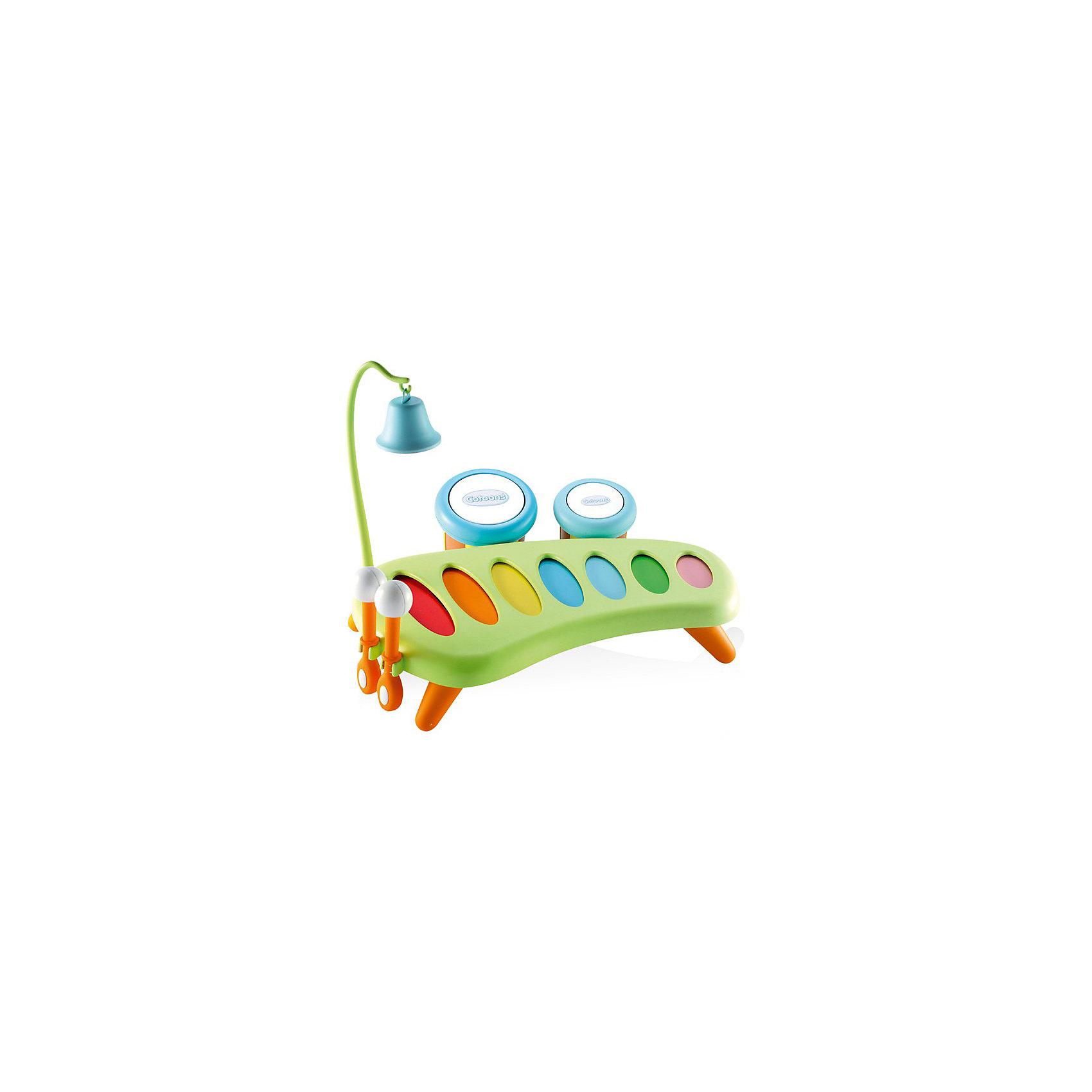 Smoby Cotoons Музыкальный инструмент - ксилофонДетские музыкальные инструменты<br>Ксилофон от Smoby может стать первым музыкальным инструментом Вашего малыша.<br><br>Ксилофон стоит на небольших ножках. Его можно разместить на столике около малыша либо прямо на полу. У ксилофона 7 разноцветных звонких пластин, по которым так весело стучать специальными палочками, создавая свою собственную музыку. На корпусе ксилофона есть места для крепления дополнительных инструментов и для хранения палочек. Звонкий колокольчик занимает особое место в музыкальном наборе. Его звук заворожит любого малыша. Колокольчик крепится на высоком штативе с крючком. У тамбуринов разное звучание, постучите по ним попоременно. После игры они подвешиваются на одной стороне ксилофона. При использовании отдельно тамбурины превращаются в отличные маракасы.<br><br>Дополнительная информация:<br><br>В комплект входят:<br>- ксилофон; <br>- 2 тамбурина (диаметр 7 см и 9 см); <br>- металлический колокольчик с крючком; <br>- 2 палочки (длина 10,5 см). <br><br>Материал: пластмасса, металл.<br><br>Размер:  25 х 31 х 26 см.<br><br>Современная музыкальная игрушка для Вашего ребёнка!<br><br>Ширина мм: 310<br>Глубина мм: 260<br>Высота мм: 250<br>Вес г: 70<br>Возраст от месяцев: 12<br>Возраст до месяцев: 36<br>Пол: Унисекс<br>Возраст: Детский<br>SKU: 2149451