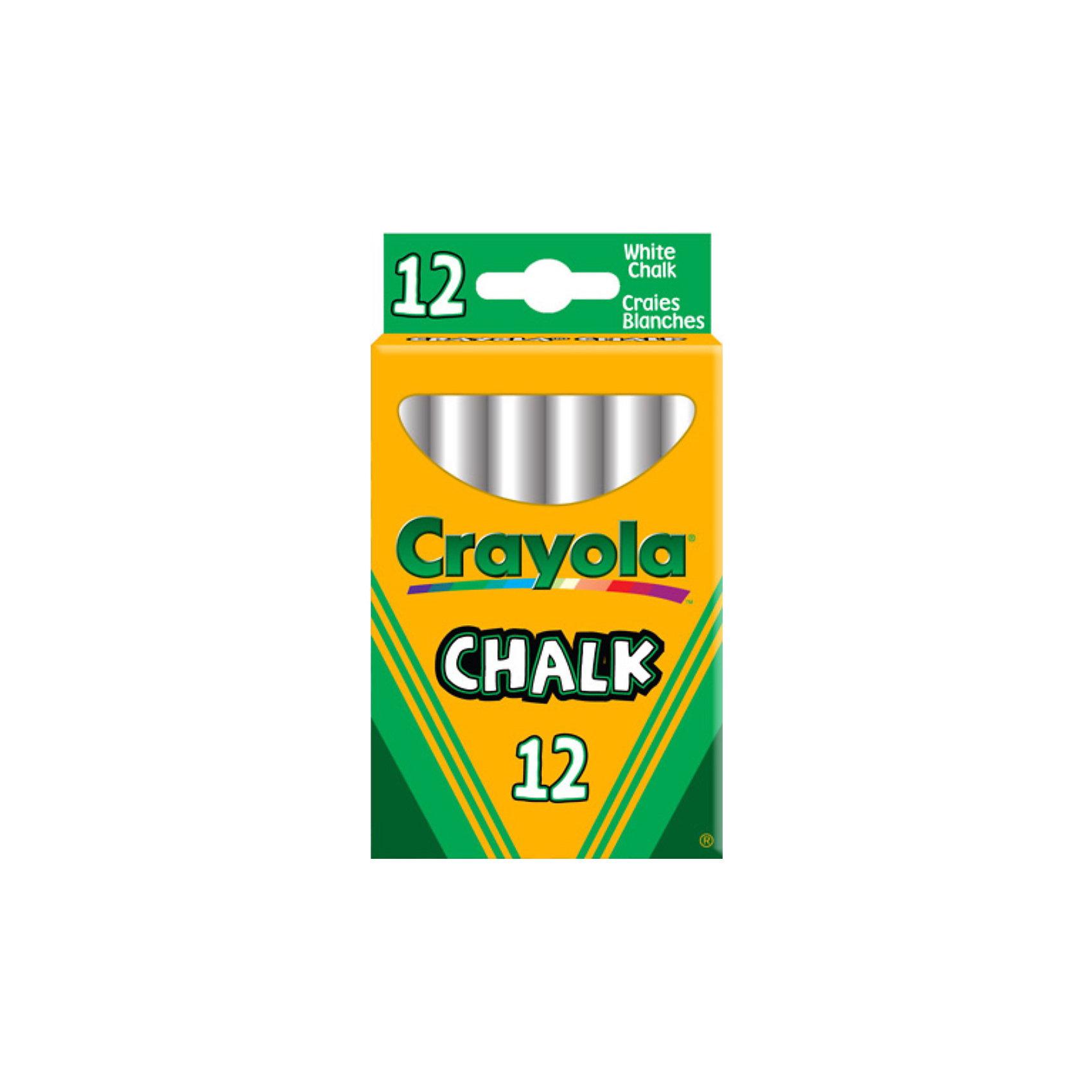 Crayola Неосыпающиеся белые мелки, 12 шт., Crayola
