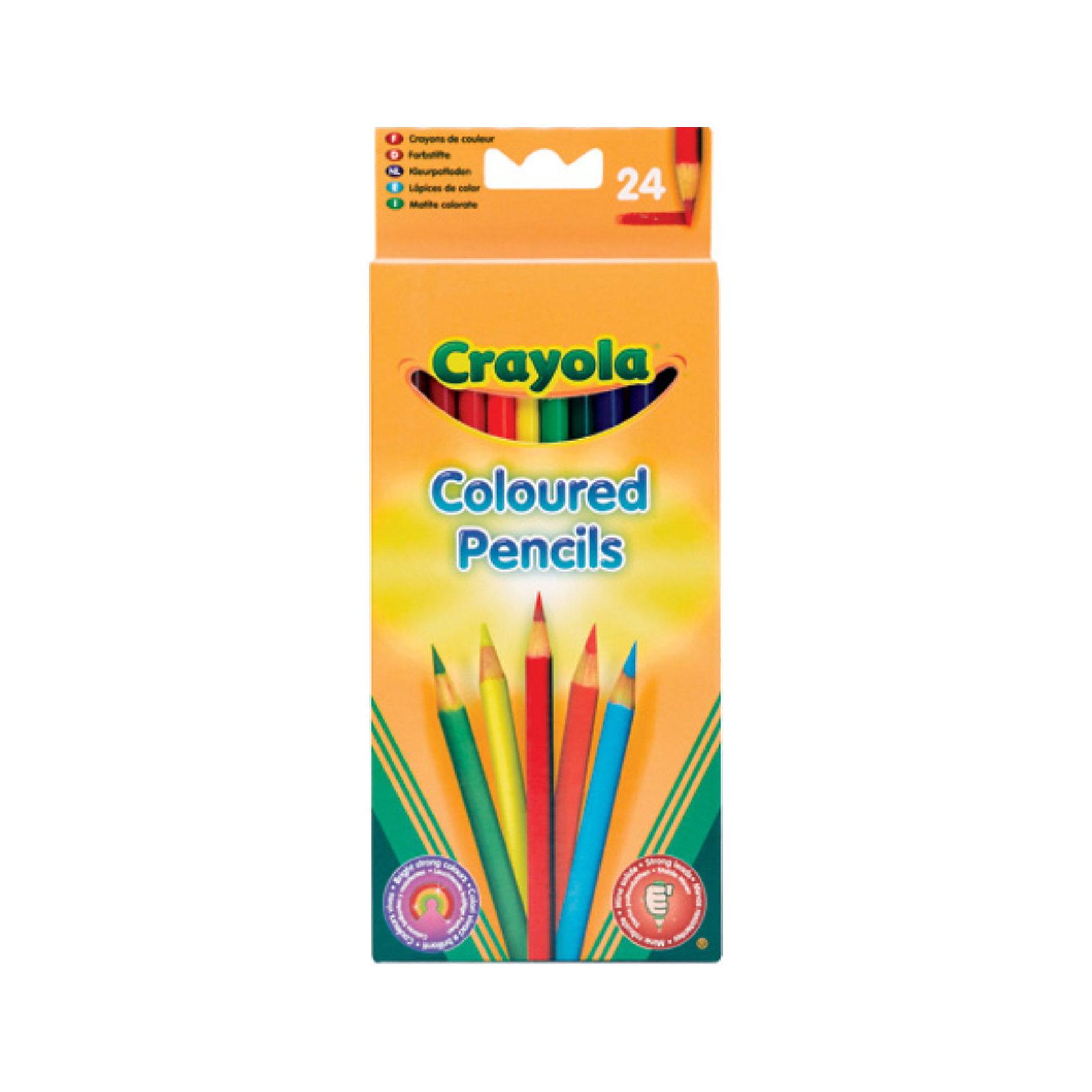 Crayola Набор из 24 цветных карандашейПисьменные принадлежности<br>Набор цветных карандашей от Crayola.<br><br>Рисование – одно из любимых детских занятий. И если технику рисования красками с помощью кисточки маленьким деткам удается постичь не сразу, то цветными карандашами с удовольствием рисуют даже годовалые малыши. Они необходимы ребенку на занятиях в детском саду, на уроках в школе, ими с удовольствием рисуют дома и берут с собой в дорогу. Однако, родителям хорошо известно о том, что выбрать карандаши хорошего качества не так просто. Многим приходилось сталкиваться с тем, что карандаши некоторых производителей легко ломаются, ведь маленький ребенок обычно чересчур сильно давит на грифель. Кроме того, далеко не все карандаши позволяют получить яркий, красочный рисунок, что огорчает малышей, предпочитающих насыщенные цвета. <br><br>С карандашами торговой марки Crayola вы забудете о подобных проблемах. Мы можем предложить вам набор из 24 цветных карандашей, рекомендованных для детей в возрасте от 3 лет. Карандаши Crayola отличаются особой прочностью грифеля, диаметр которого больше обычного. Это достигается с помощью использования специальных технологий. Купив своему ребенку такие карандаши, вы избавите себя от необходимости проводить едва ли не каждый вечер за их затачиванием. Однако, если все же в этом возникнет необходимость, высокое качество древесины, из которой они изготовлены, облегчит этот процесс. <br><br>Дополнительная информация:<br><br>Количество карандашей: 24. <br>Длина карандаша: 17,5 см. <br>Диаметр: 0,7 см. <br><br>Продукция торговой марки Crayola – это забота как о малышах, так и об их родителях.<br><br>Ширина мм: 90<br>Глубина мм: 22<br>Высота мм: 17<br>Вес г: 160<br>Возраст от месяцев: 36<br>Возраст до месяцев: 1188<br>Пол: Унисекс<br>Возраст: Детский<br>SKU: 2149662