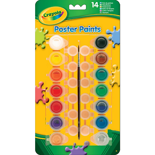 Набор красок, CrayolaКраски и кисточки<br>Набор красок от Crayola, 14 цветов. <br><br>Способствует творческому развитию ребенка. <br><br>Краски от Crayola – это гарантия качества и безопасности для вашего ребенка. В их составе – только экологически чистые, не токсичные и не вызывающие аллергии красители, которые не раздражают нежную детскую кожу при случайном попадании. <br><br>Краски легко смываются с рук малыша теплой водой и с одежды, пригодной для стирки в обычном режиме.<br><br>Дополнительная информация:<br><br>В набор входит 14 баночек с гуашевой краской разных цветов,а так же кисточка и палитра для их смешивания. <br><br>Чистые яркие цвета станут для ребенка отличной мотивацией – ведь обучаться рисованию с ними особенно легко и приятно.<br><br>Ширина мм: 150<br>Глубина мм: 200<br>Высота мм: 220<br>Вес г: 160<br>Возраст от месяцев: 36<br>Возраст до месяцев: 1188<br>Пол: Унисекс<br>Возраст: Детский<br>SKU: 2149663
